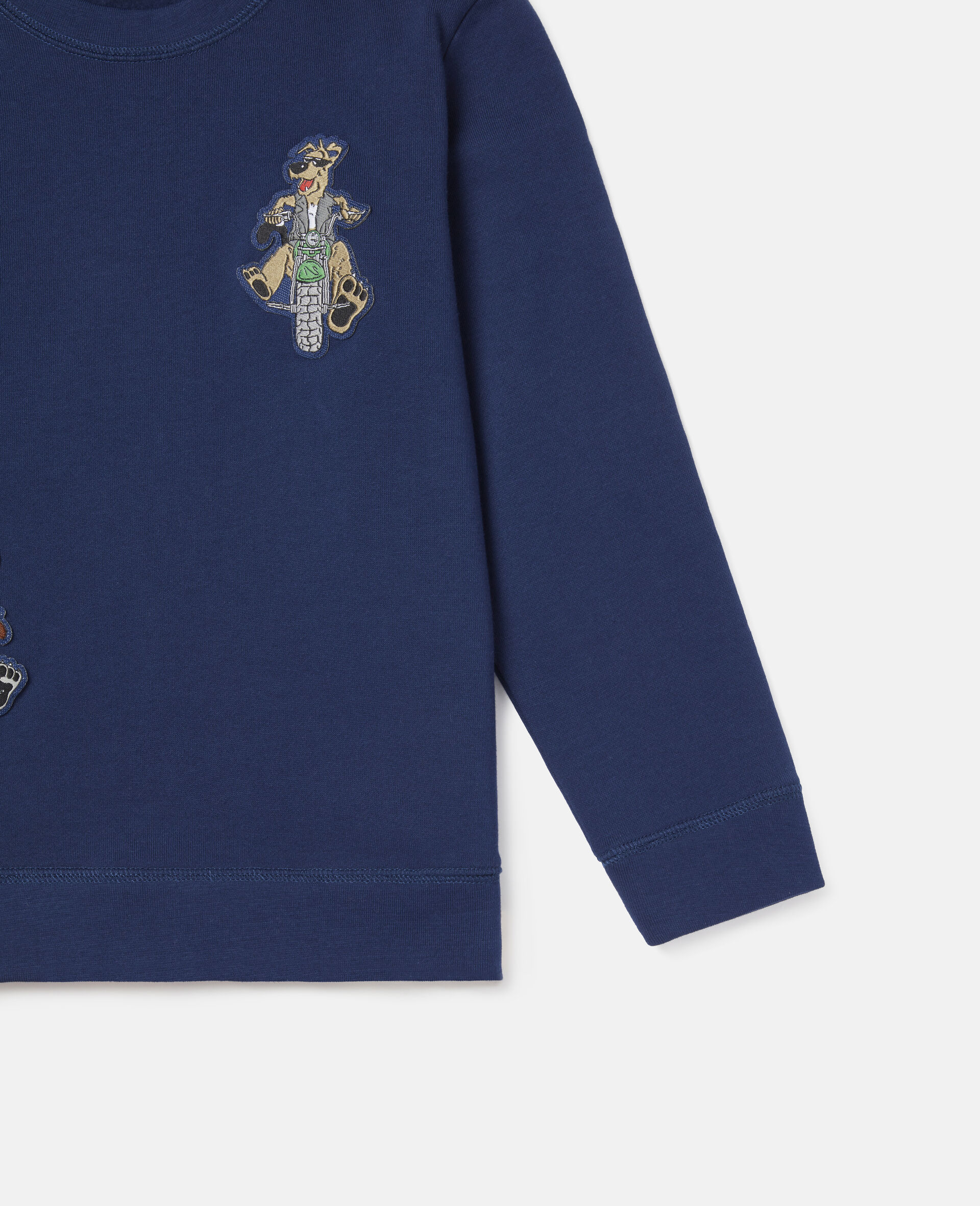Felpa in Cotone con Badge Doggie Riders-Blu-large image number 2