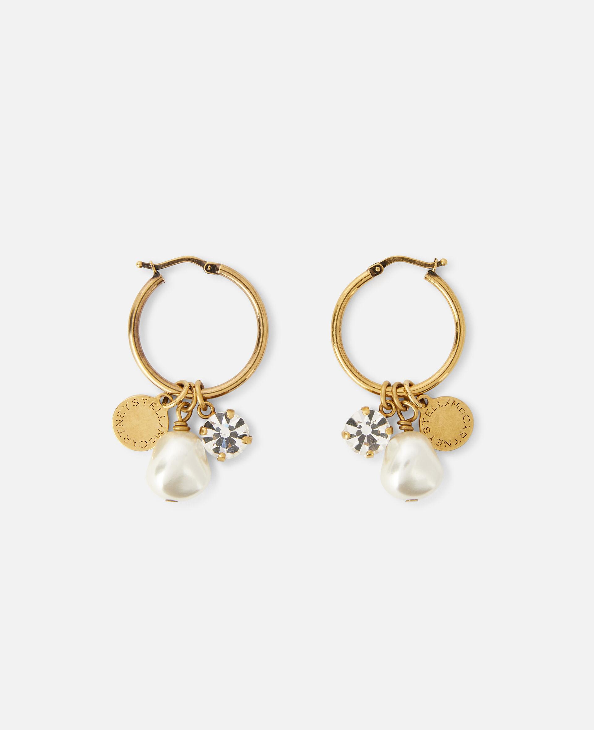 黄铜、珍珠和水晶耳环-黄色-large image number 1