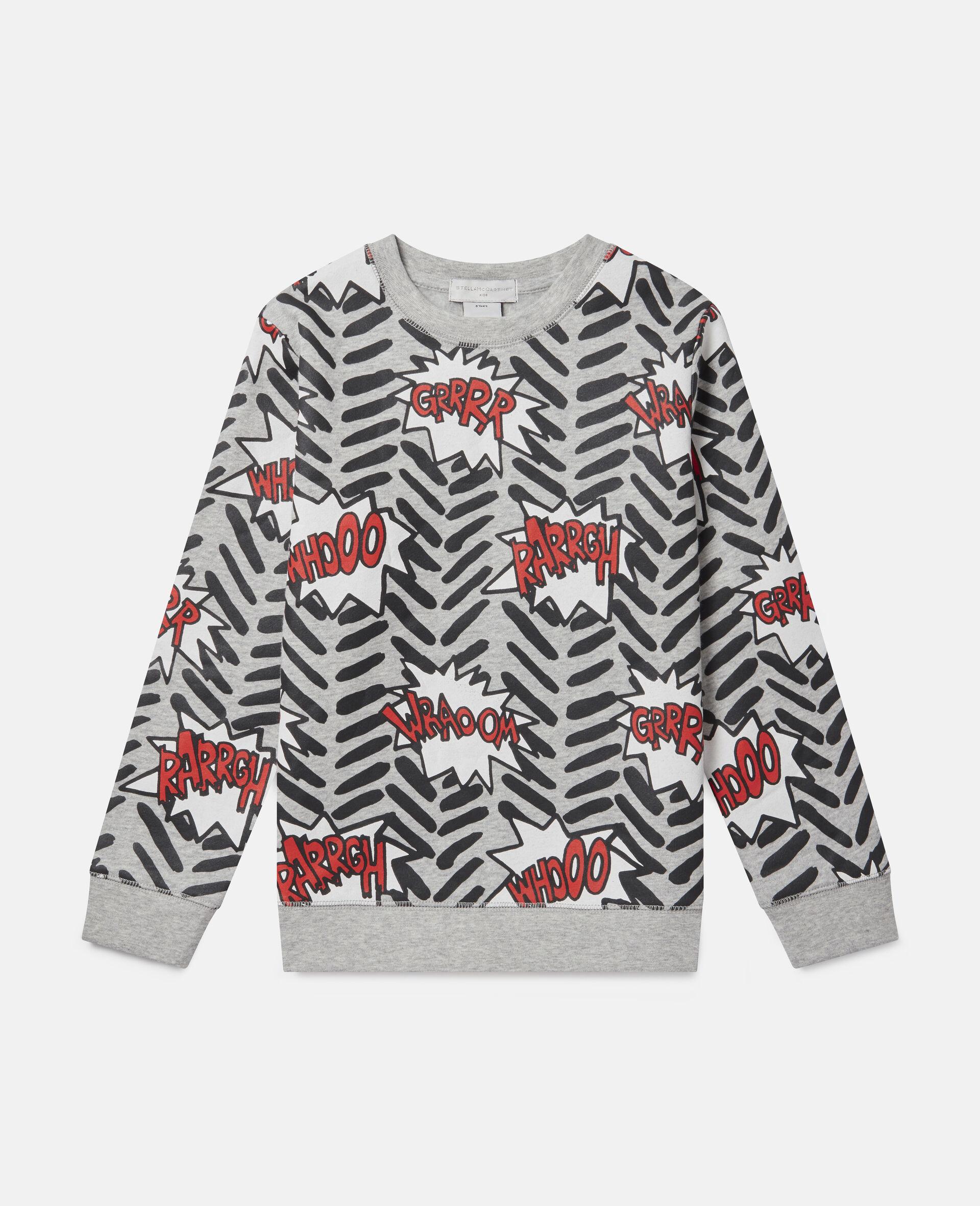 Comic Bubbles Fleece Sweatshirt-Grey-large image number 0
