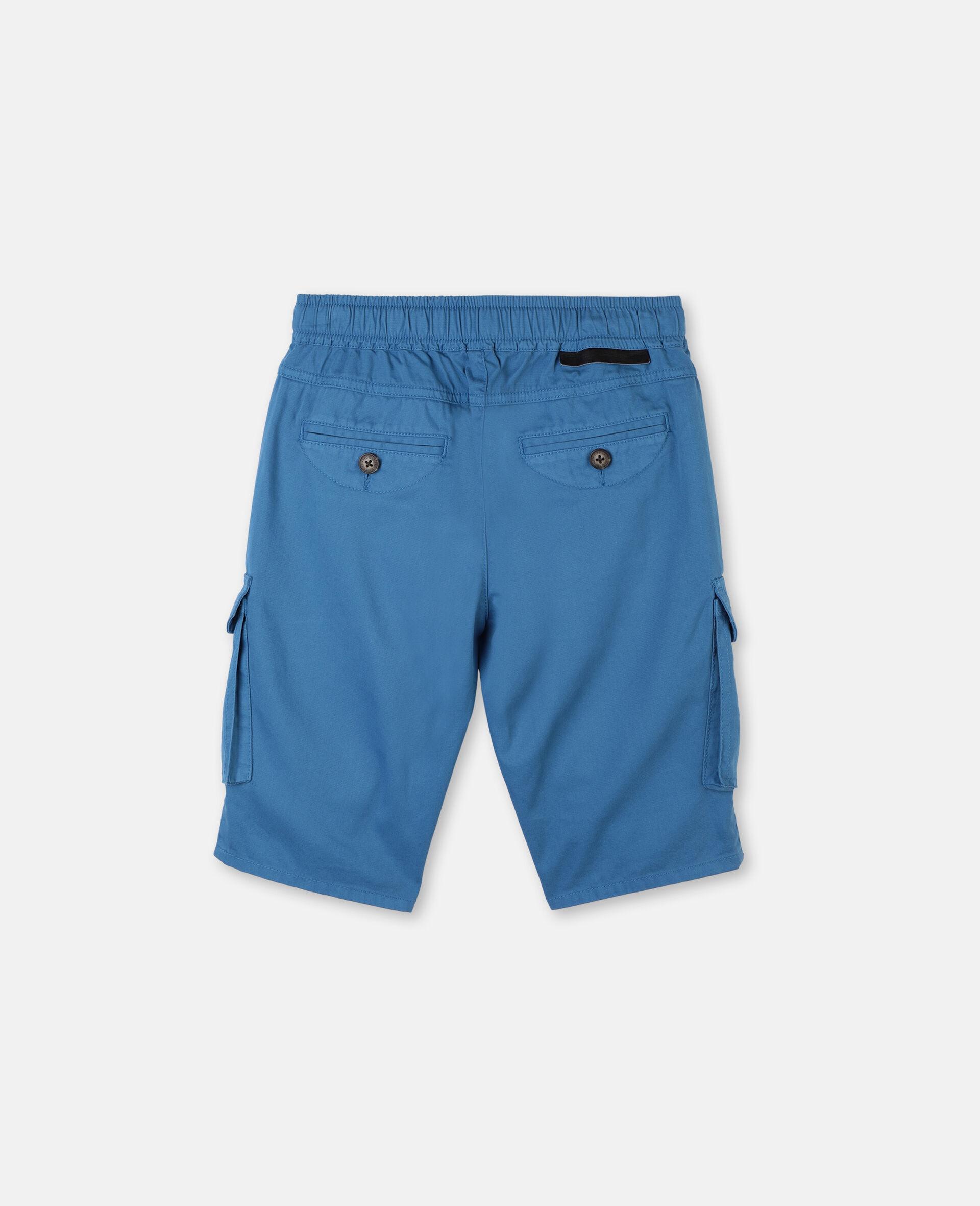 Cargo Cotton Twill Shorts -Blue-large image number 3