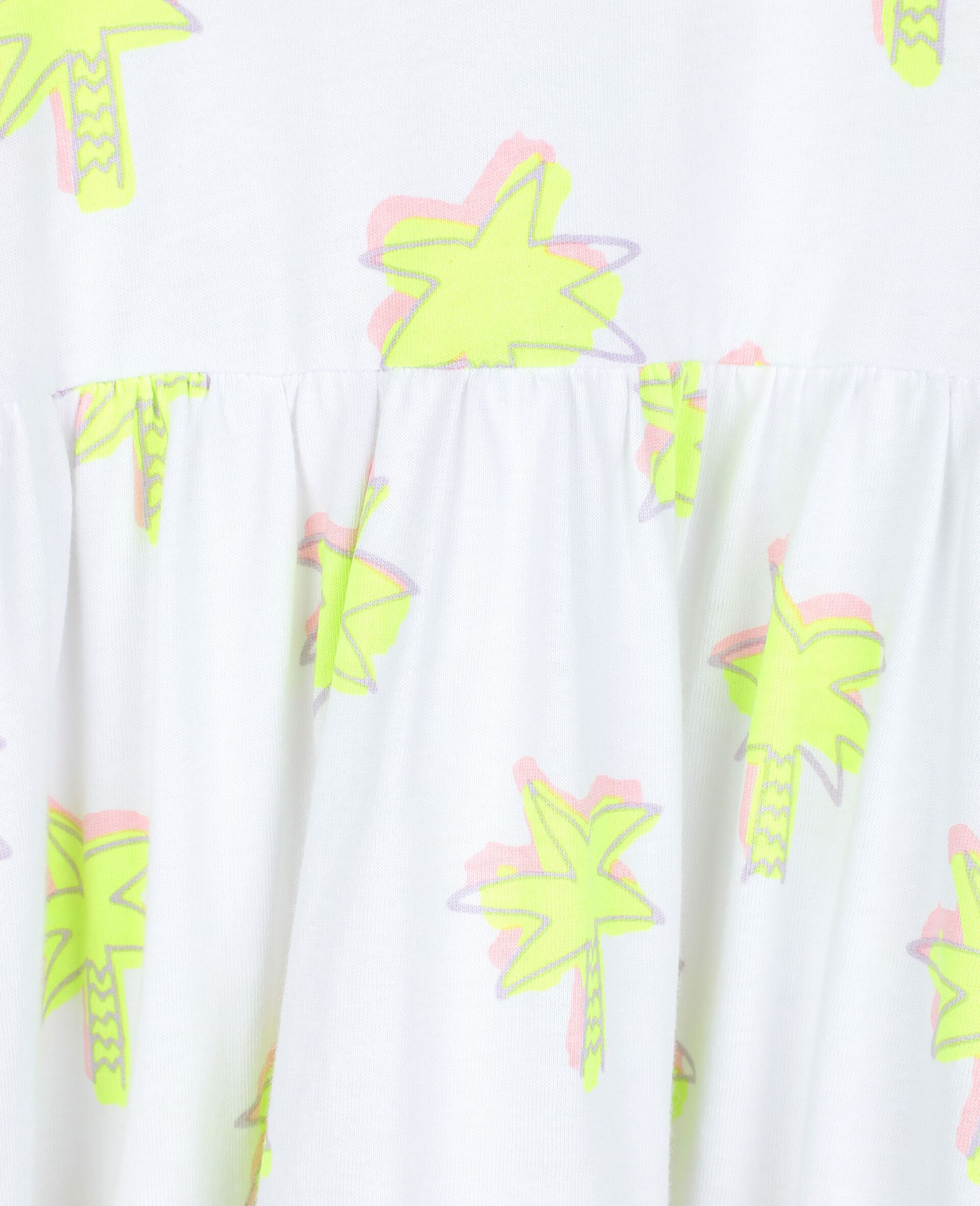 Doodle Palm Cotton Dress-White-large image number 1