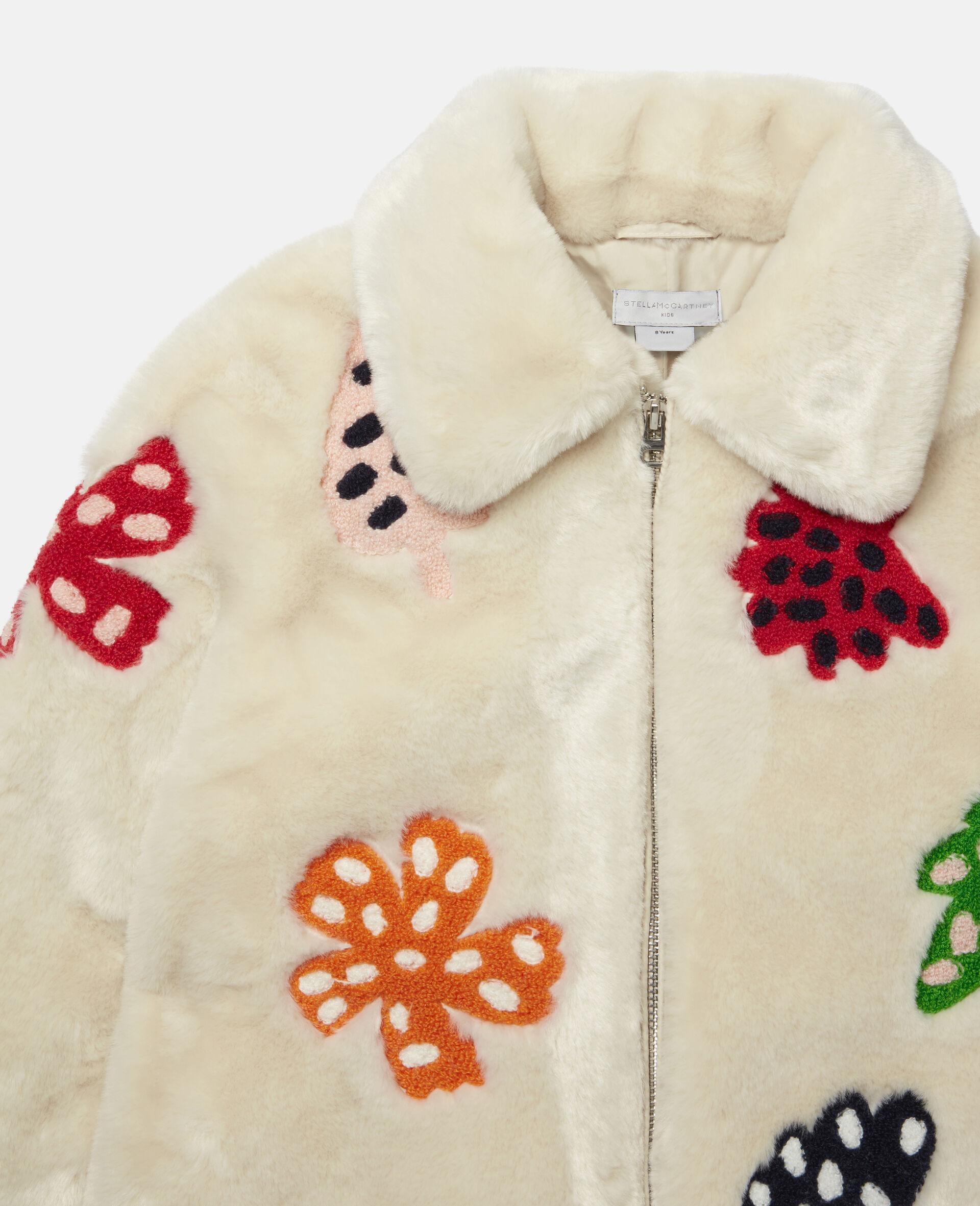 Jacke aus FFF mit gepunkteter Blumen-Stickerei -Weiß-large image number 2