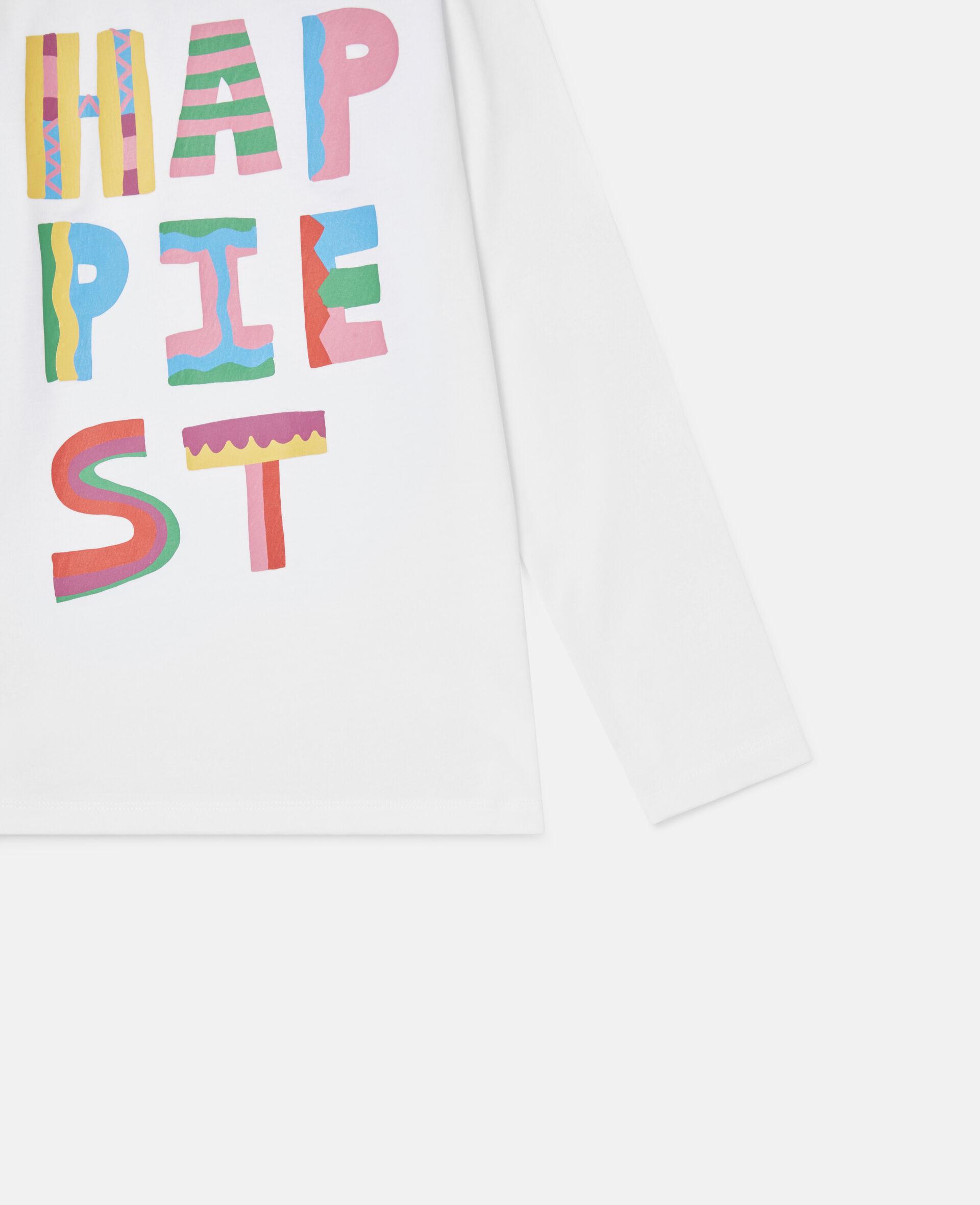Top aus Baumwolle mit Happiest-Print-Weiß-large image number 2