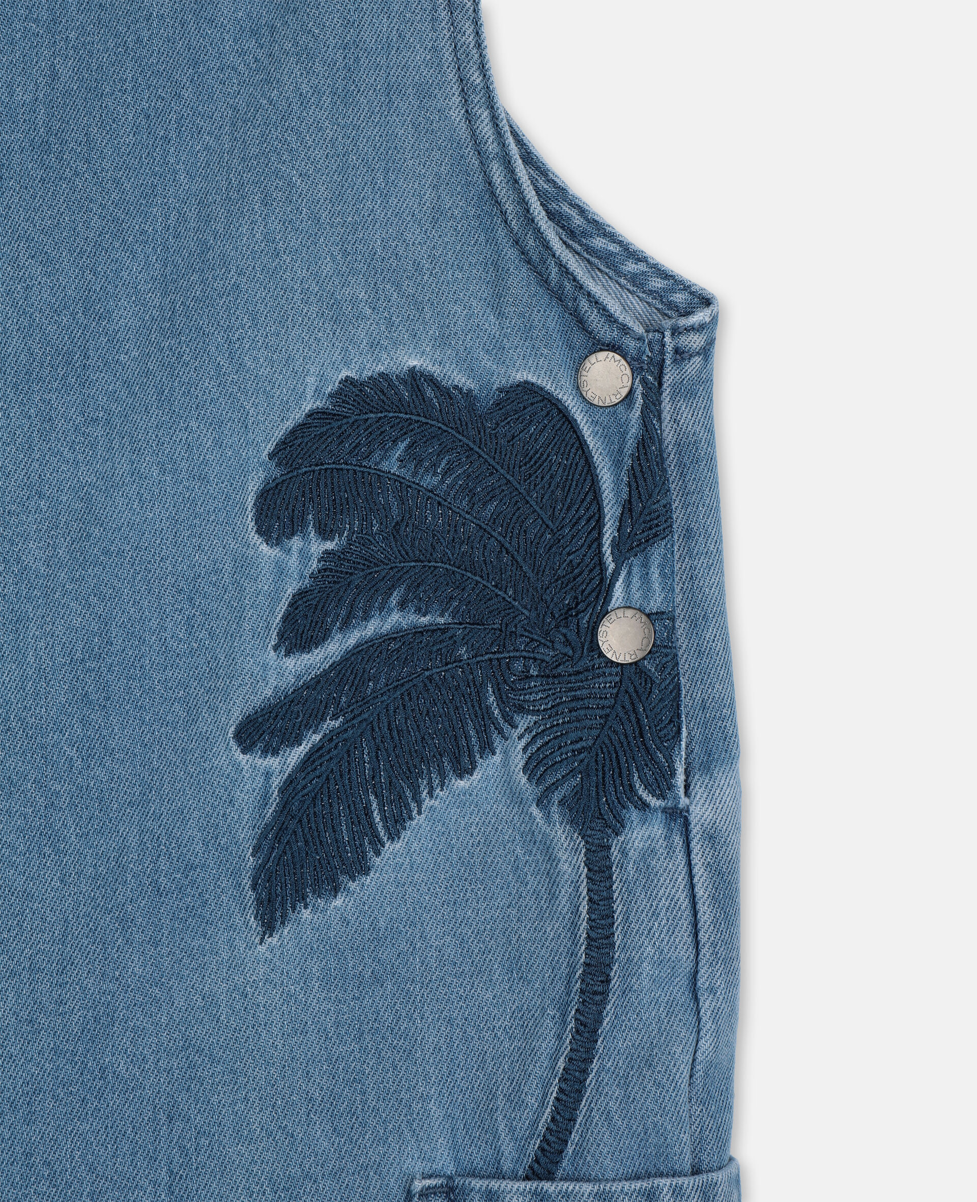 Embroidered Palms Denim Dungaree-Blue-large image number 2