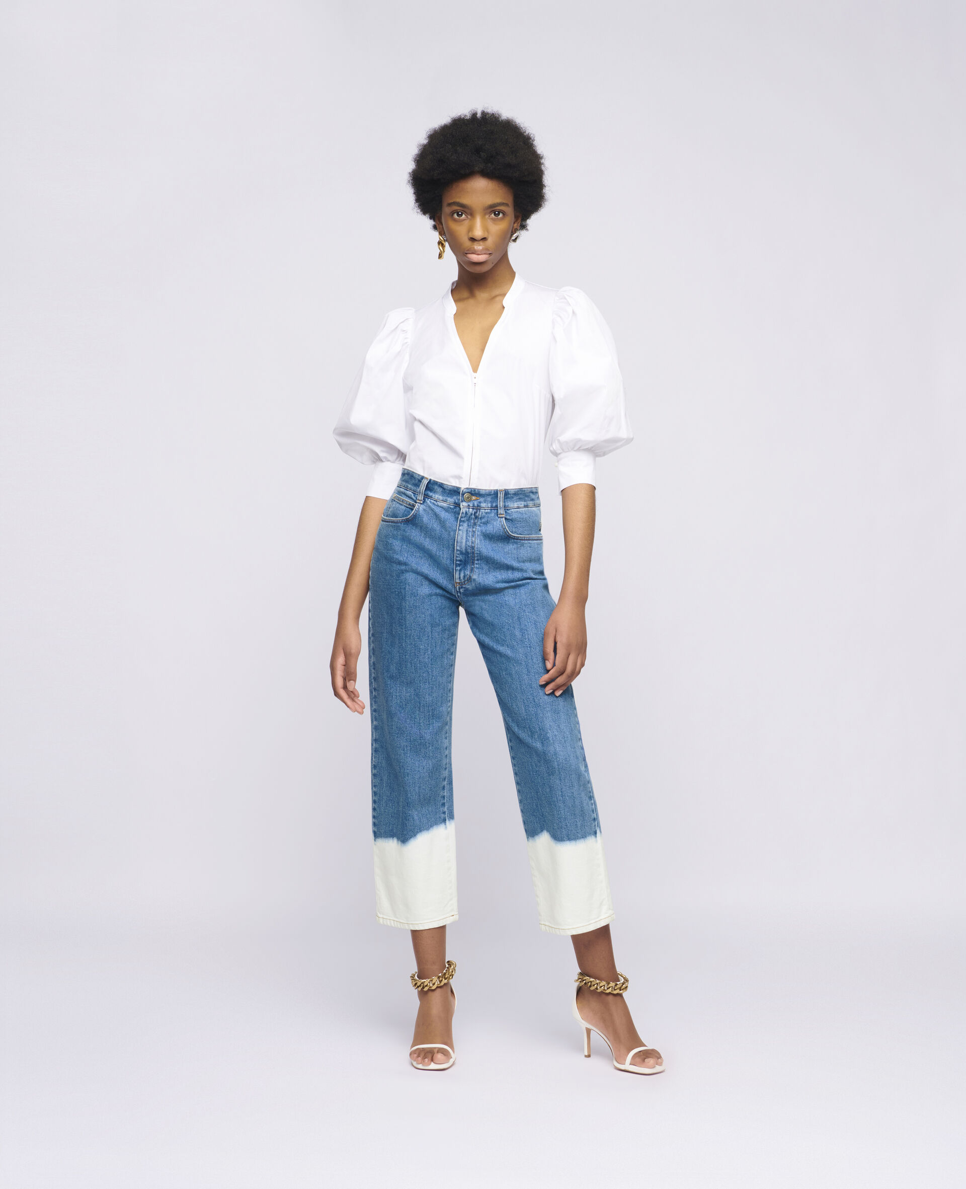 Dip Faded Jeans -Blue-large image number 1