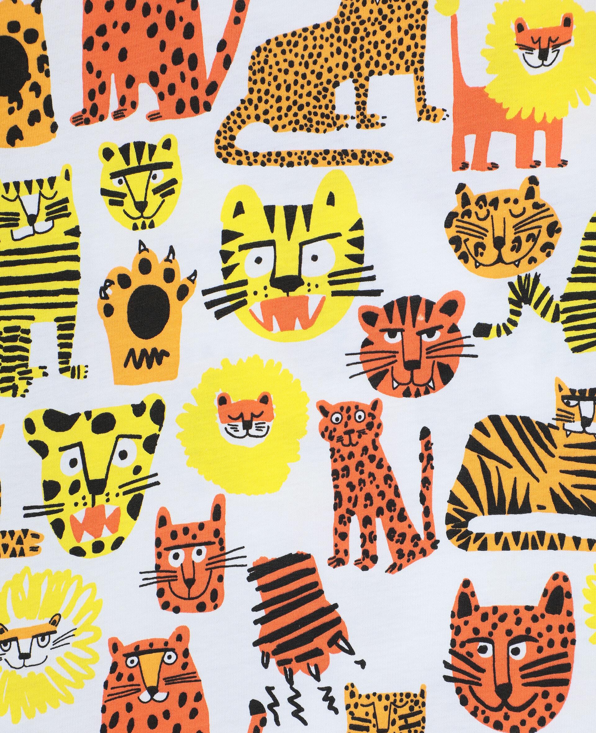 Baumwoll-T-Shirt mit Wildkatzen-Print -Gelb-large image number 2