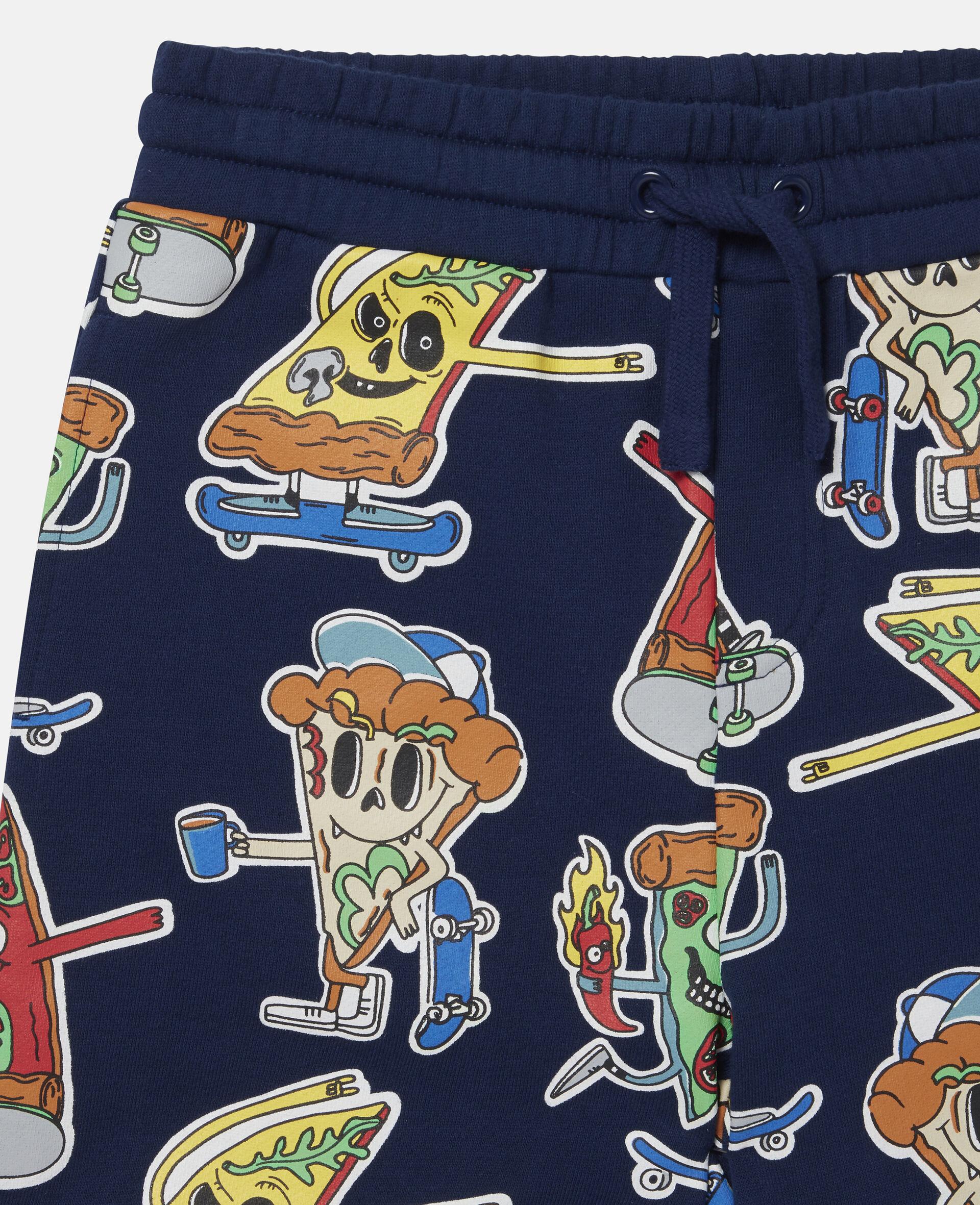 披萨滑板运动员印花抓绒短裤-蓝色-large image number 1