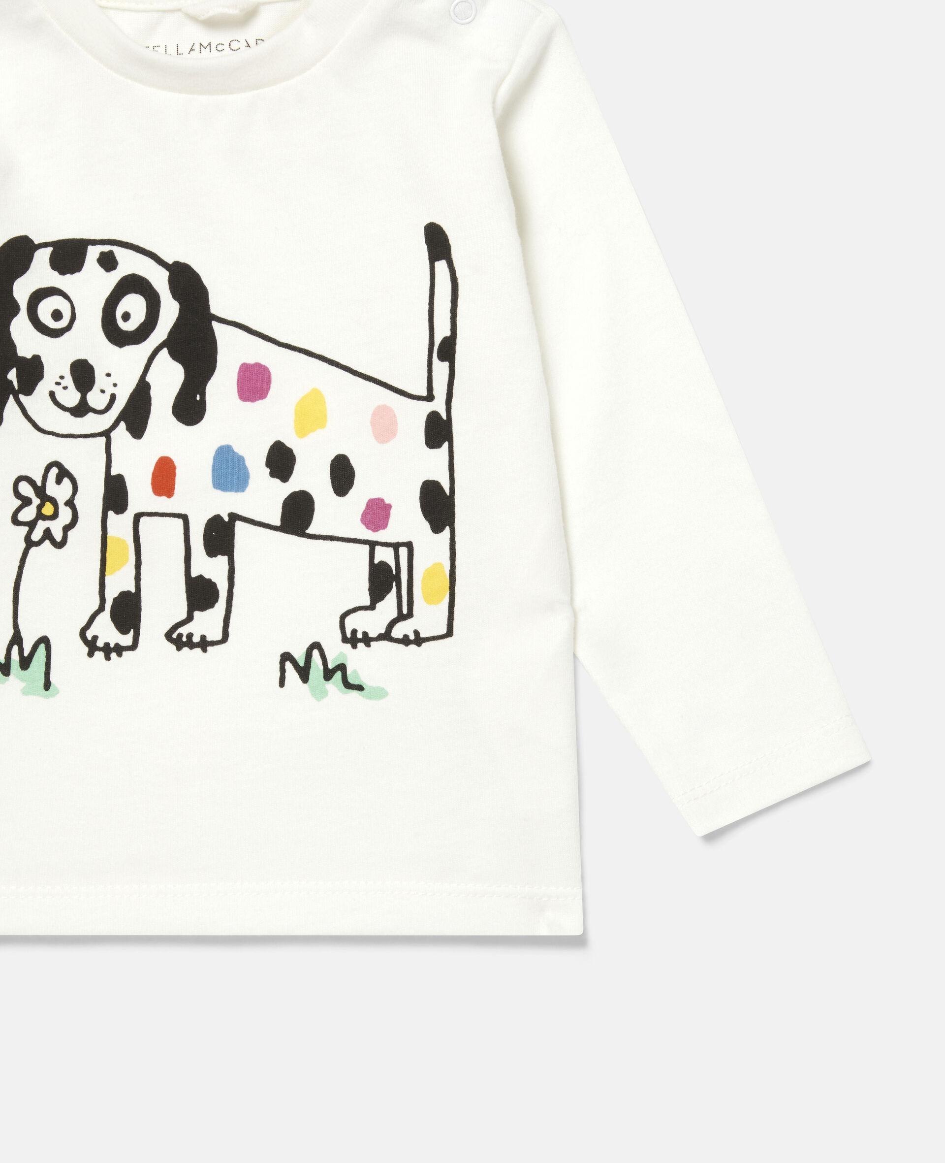 Haut à imprimé fleur et chien-Blanc-large image number 2