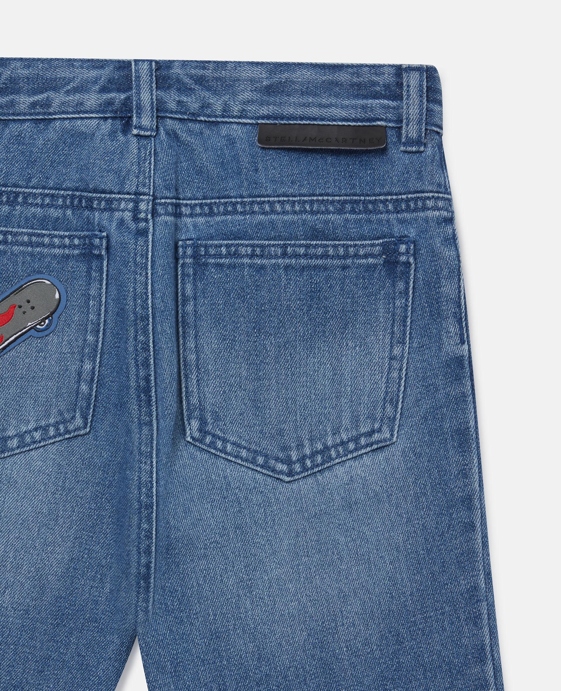 滑板徽章牛仔短裤-蓝色-large image number 2
