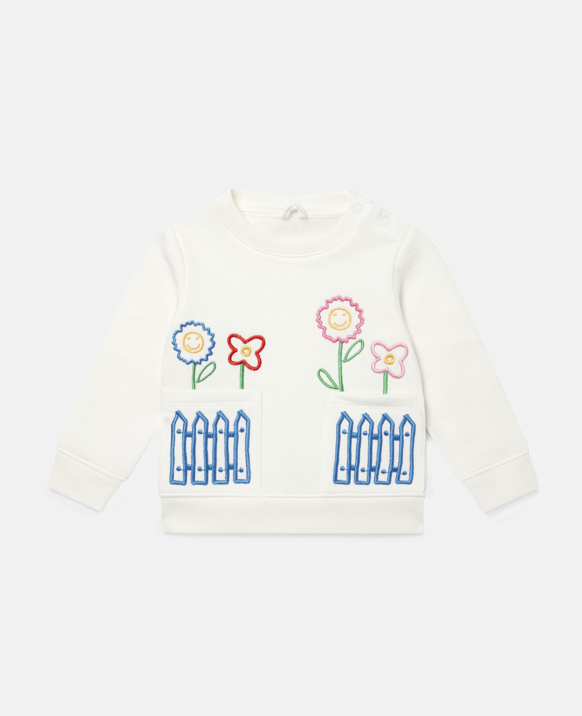 Fleece-Sweatshirt mit Gänseblümchenstickerei-Weiß-large image number 0
