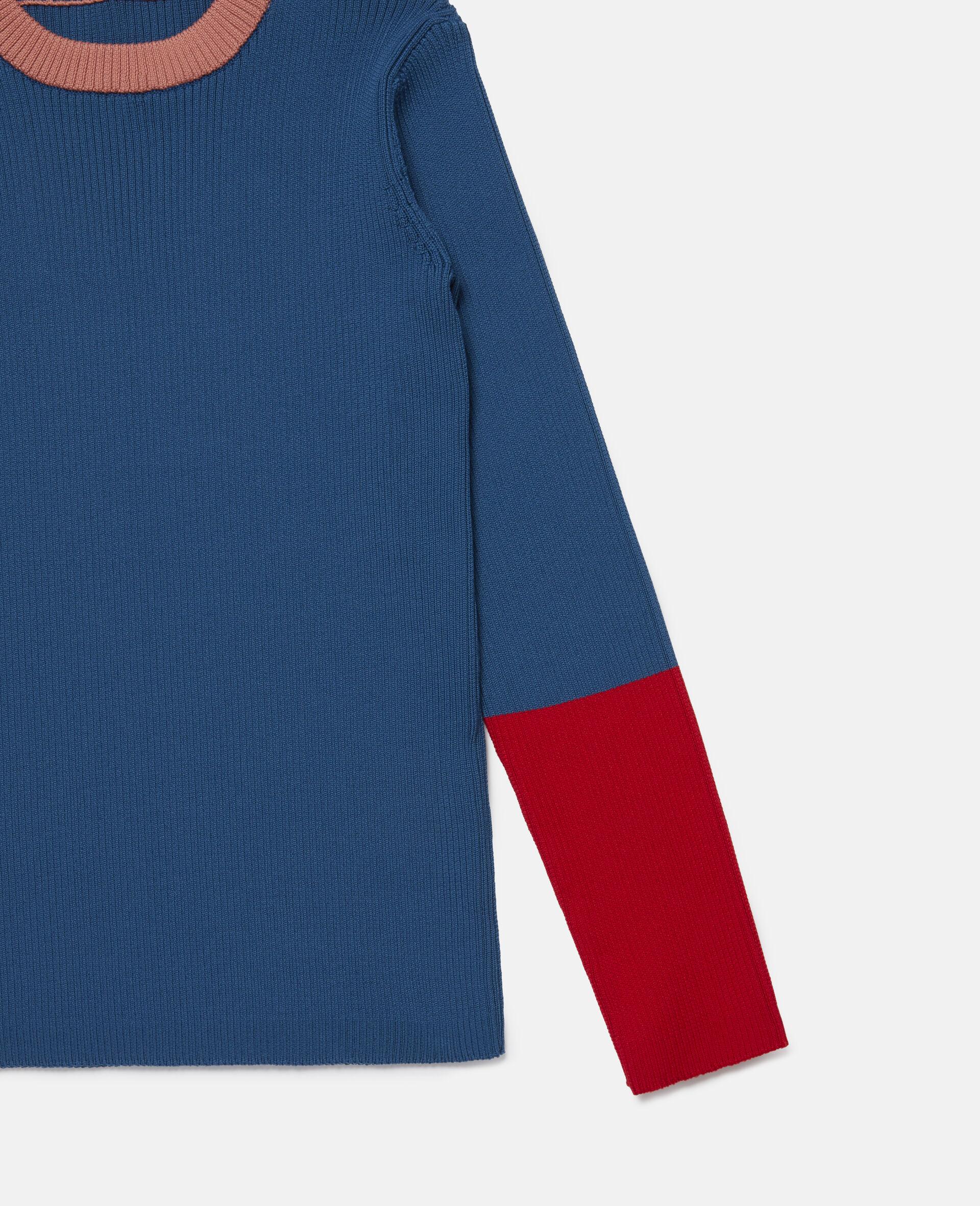 Colourblock Knit Rib Jumper -Blue-large image number 1