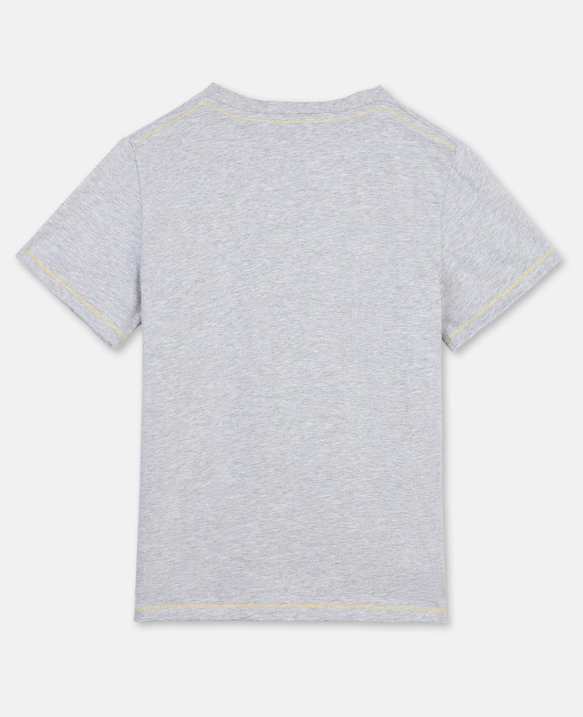 T-Shirt in Cotone con Ghepardo-Grigio-large image number 3