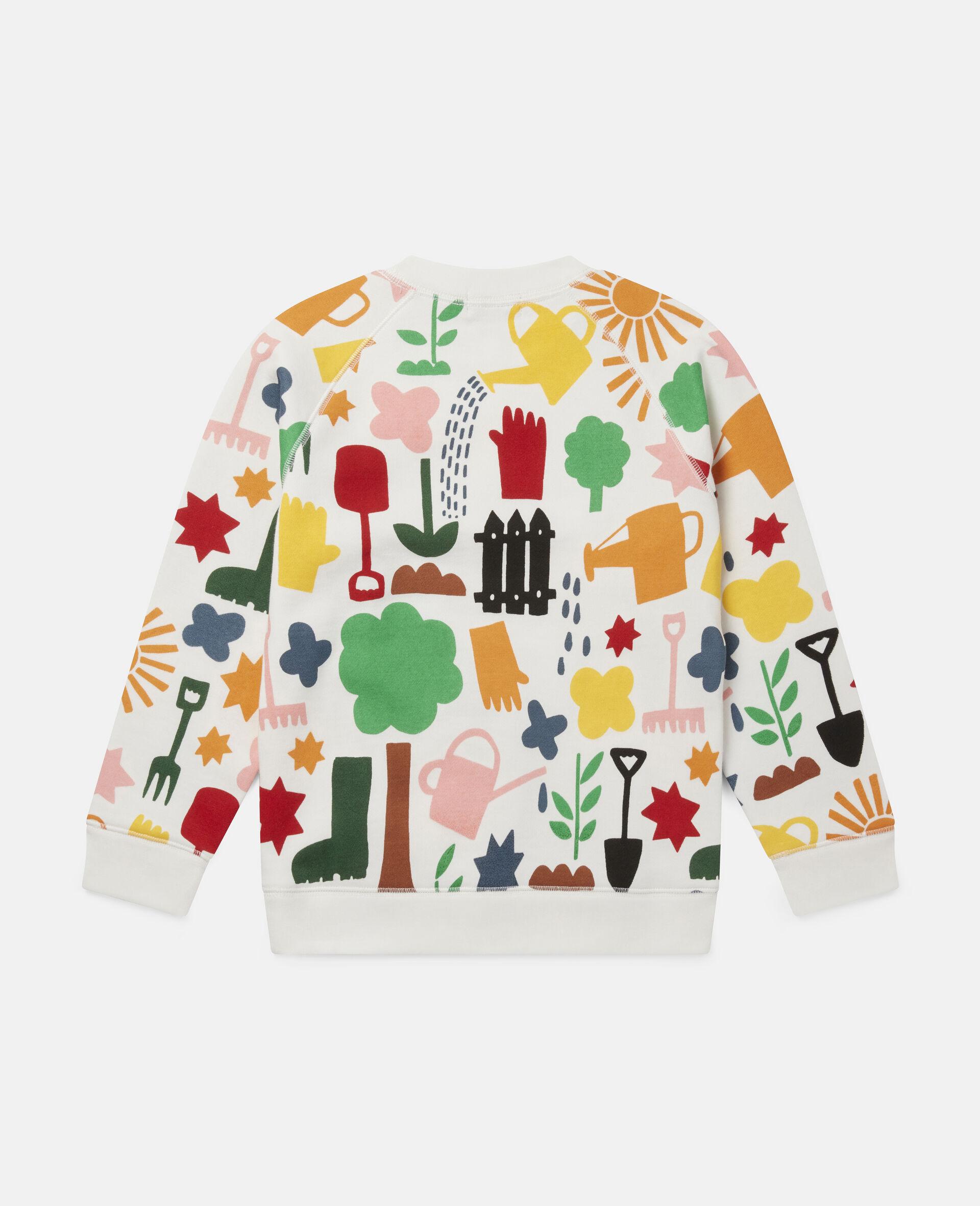 Sweat-shirt en polaire motifs jardin-Blanc-large image number 3