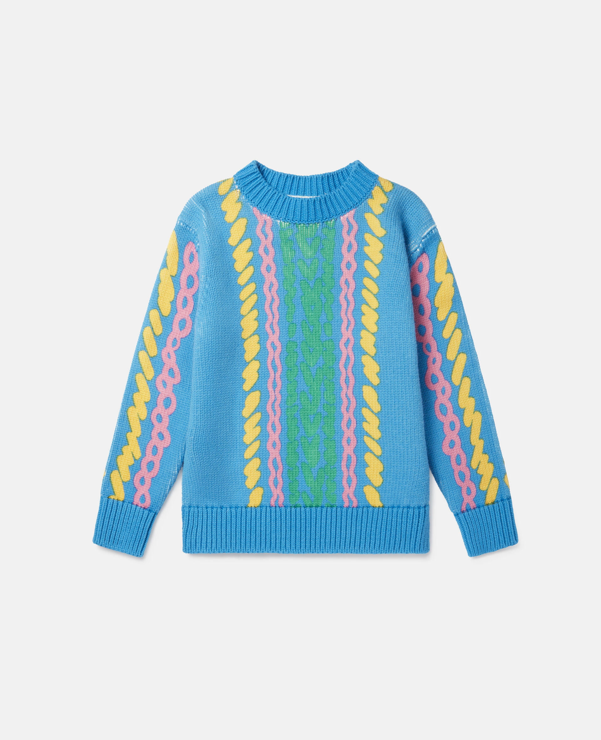 Comic Bubbles Oversized Knit Sweater-Blue-large image number 0