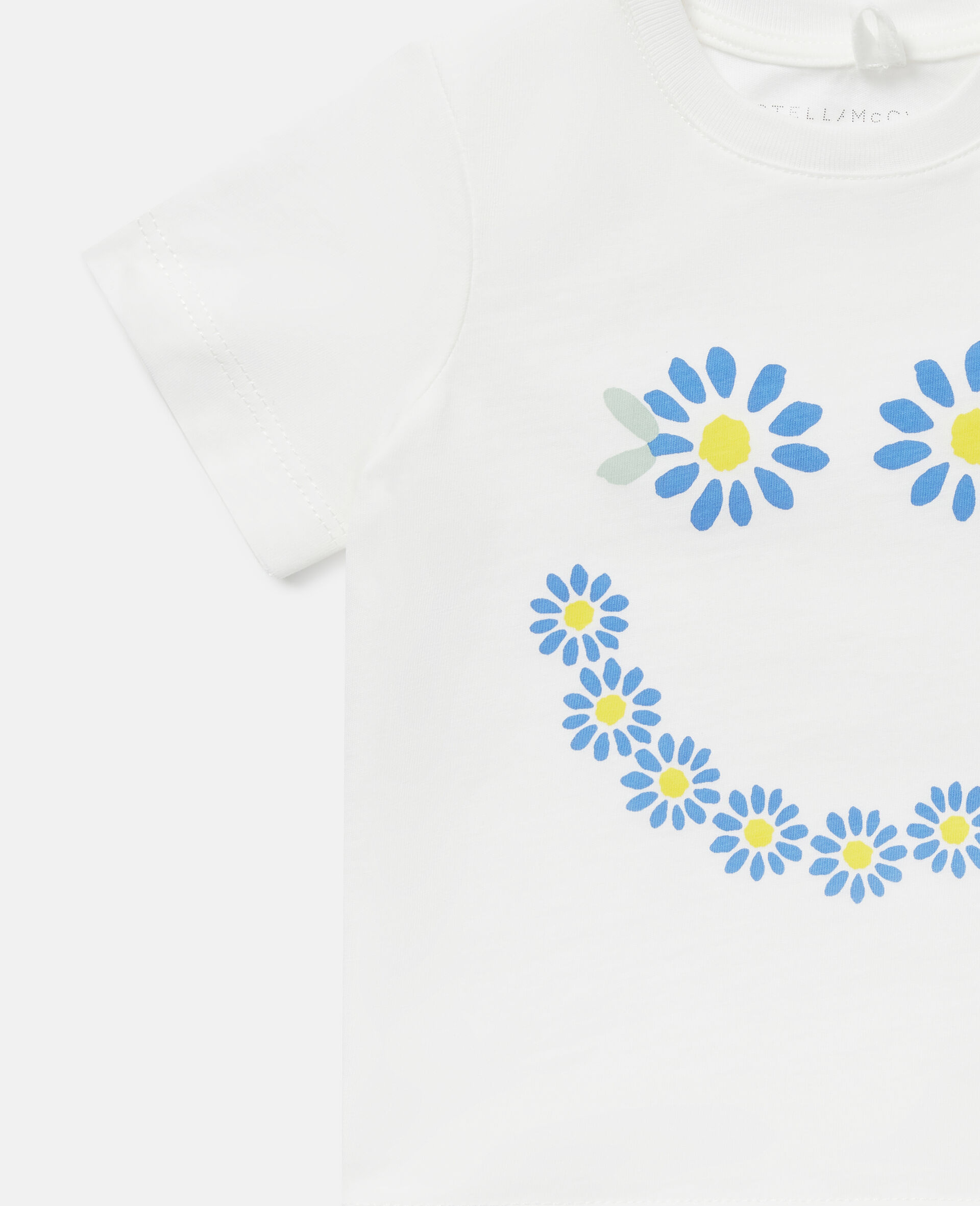 Smile Daisies Cotton T-Shirt-White-large image number 2