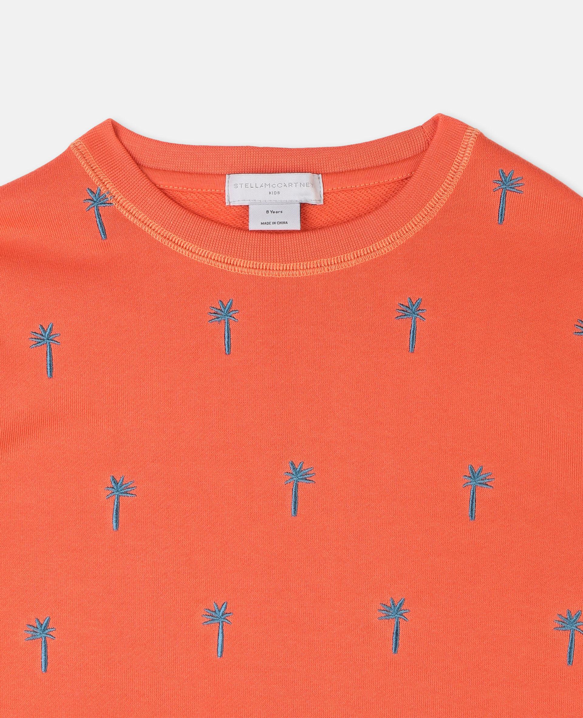 Baumwollsweatshirt mit aufgestickten Palmen -Rot-large image number 2