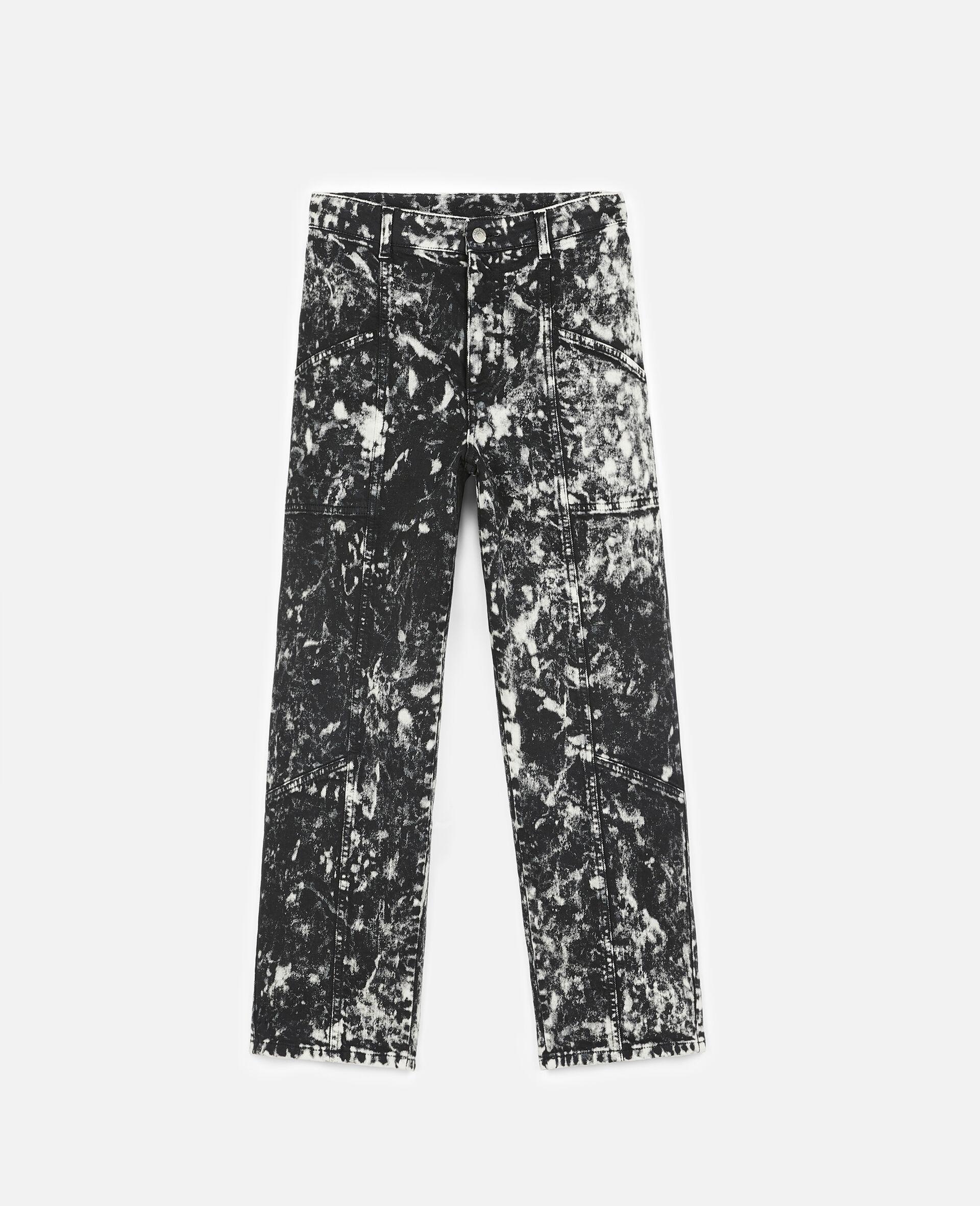 Cropped Denim Trousers-Black-large image number 0