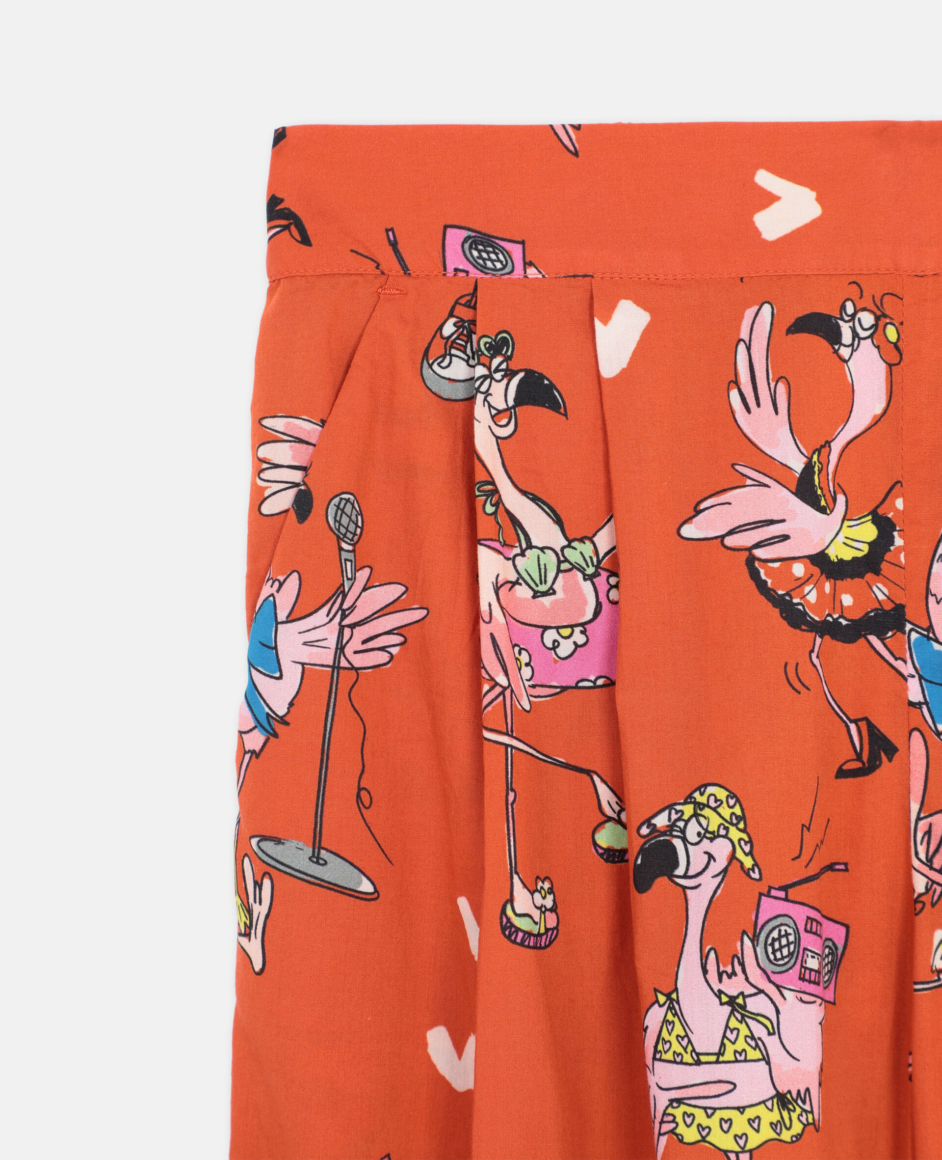 Flamingo Party Cotton Pants-Red-large image number 1