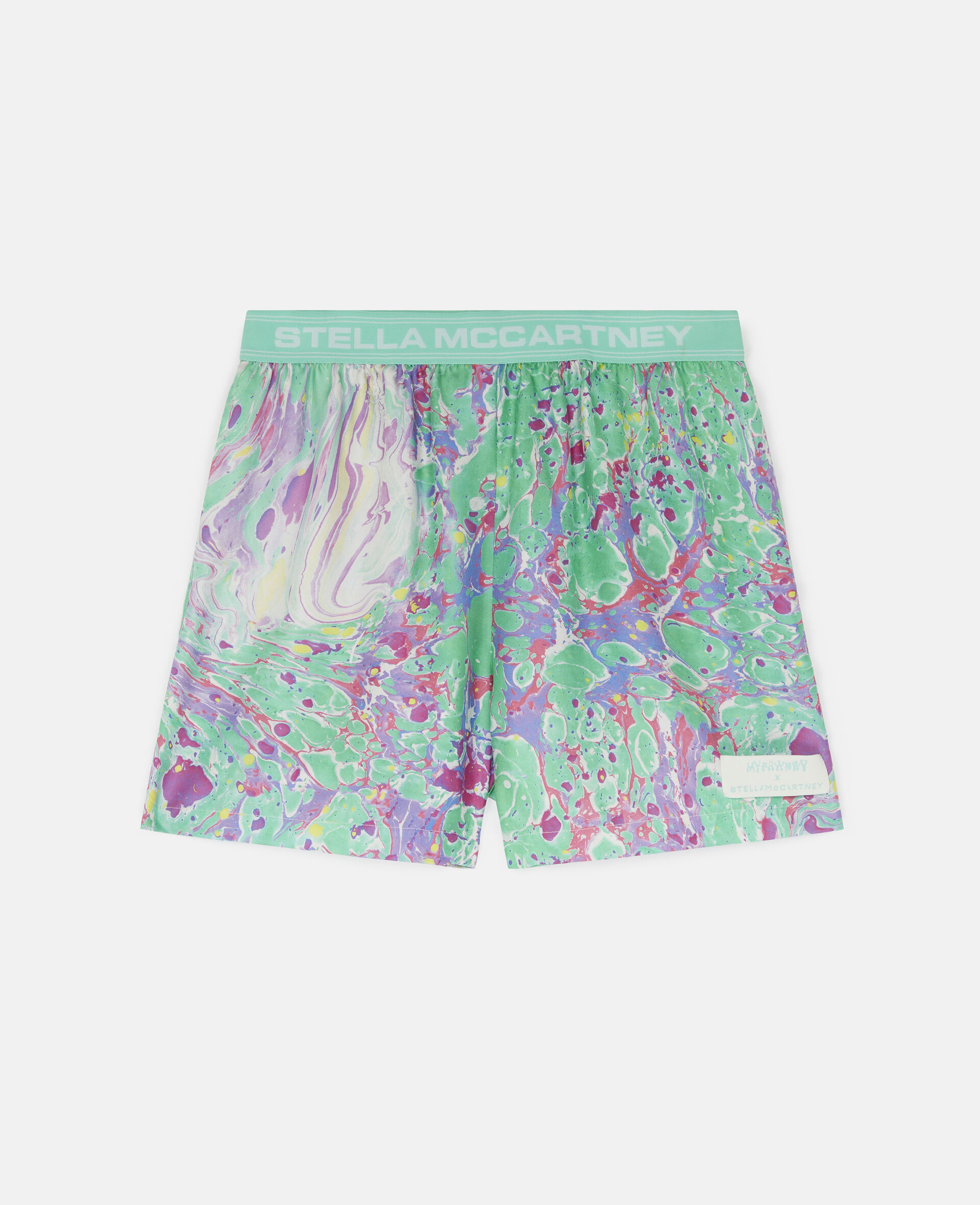 Myfawnwy Printed Silk Shorts-Multicolour-large image number 0