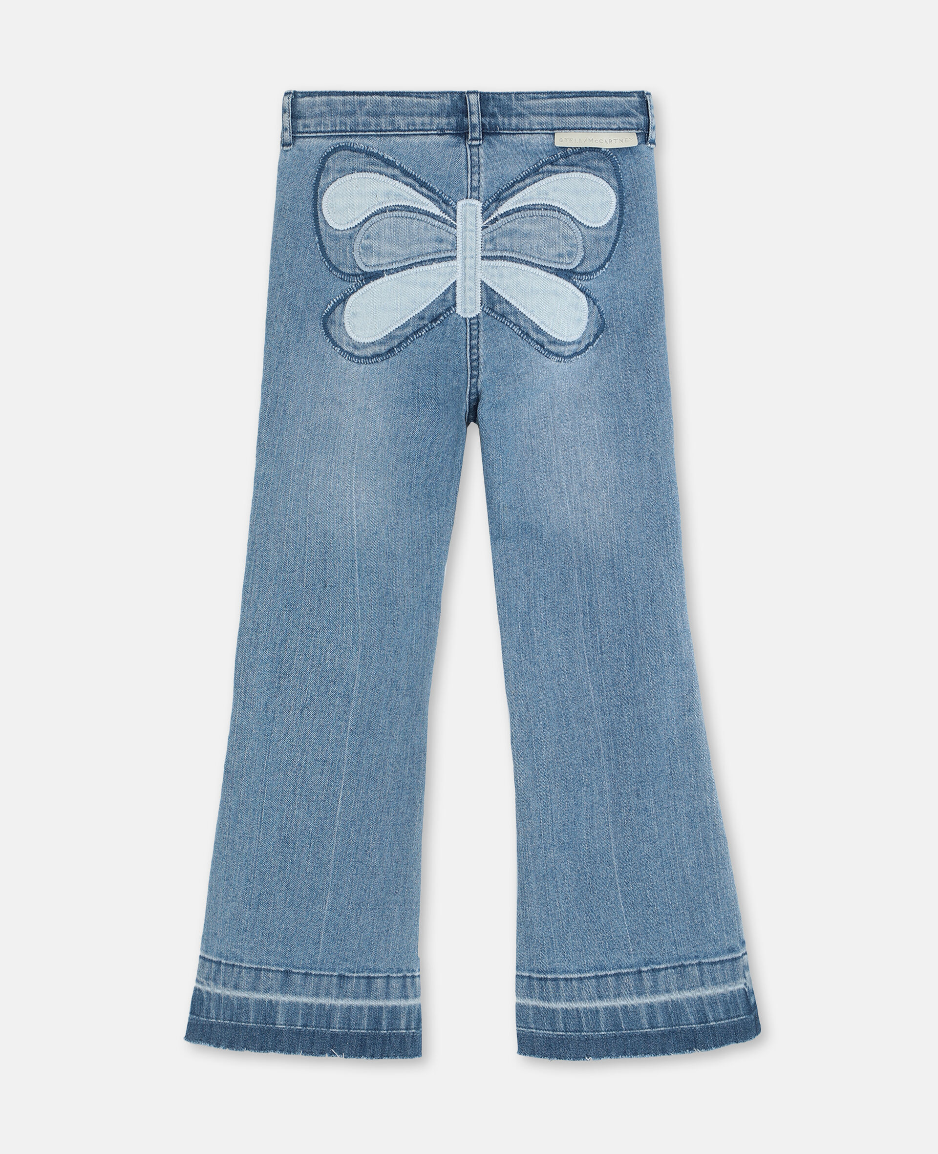 Butterfly Patch Flared Denim Trousers-Blue-large image number 3