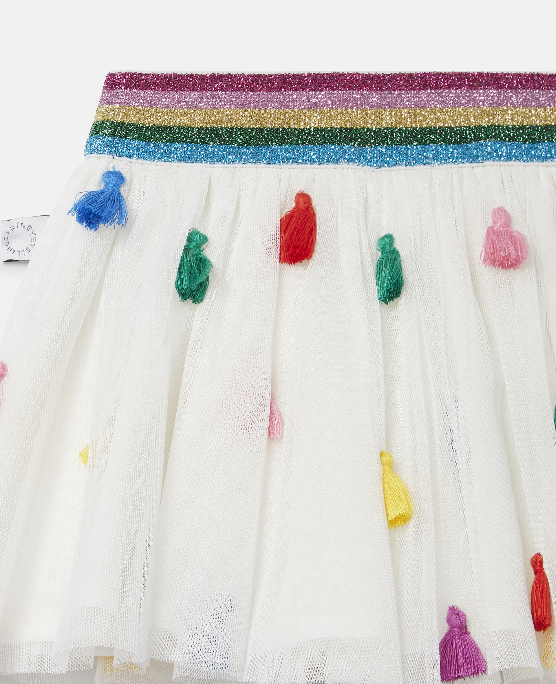 Gonna in Tulle con Nappine-Bianco-large image number 2