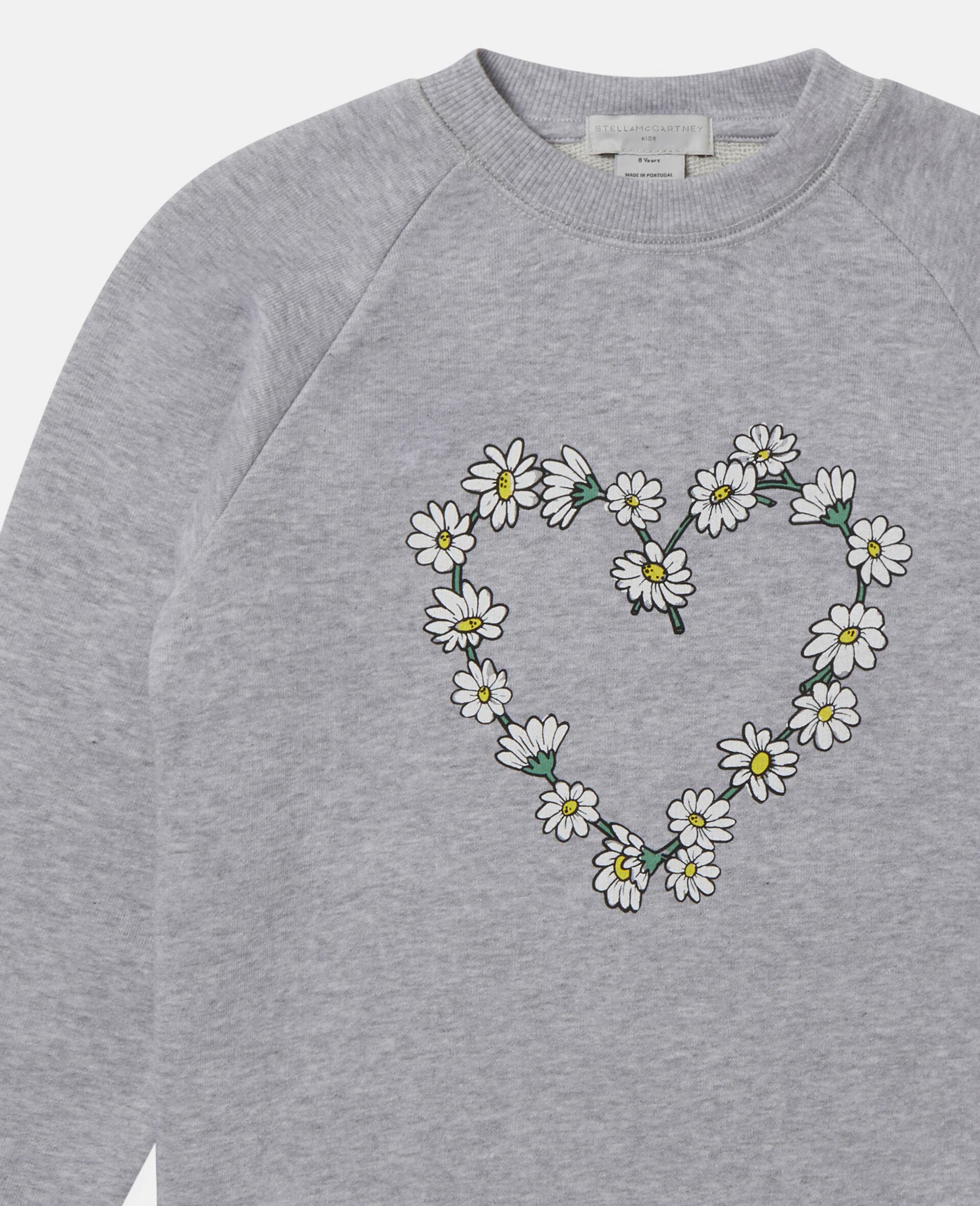 Sweat-shirt en polaire de coton motif cœur en marguerites -Gris-large image number 1