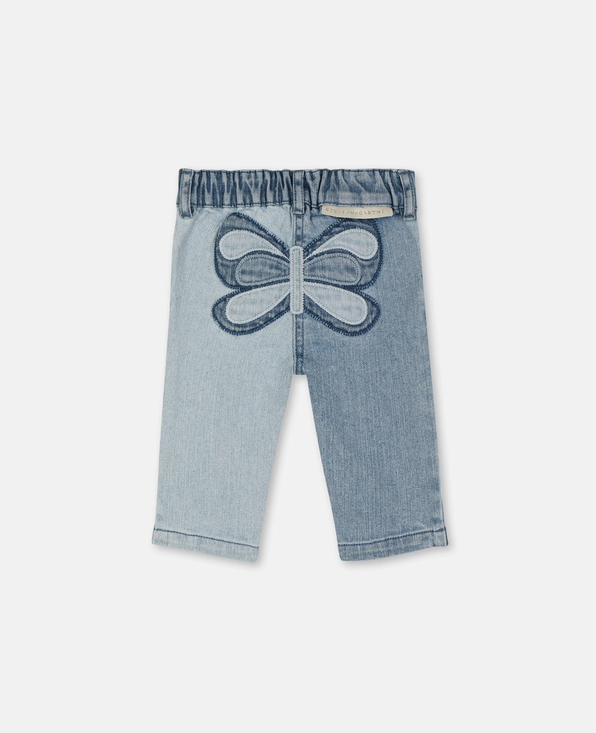 Pantalon en denim slim à motif papillon-Bleu-large image number 3
