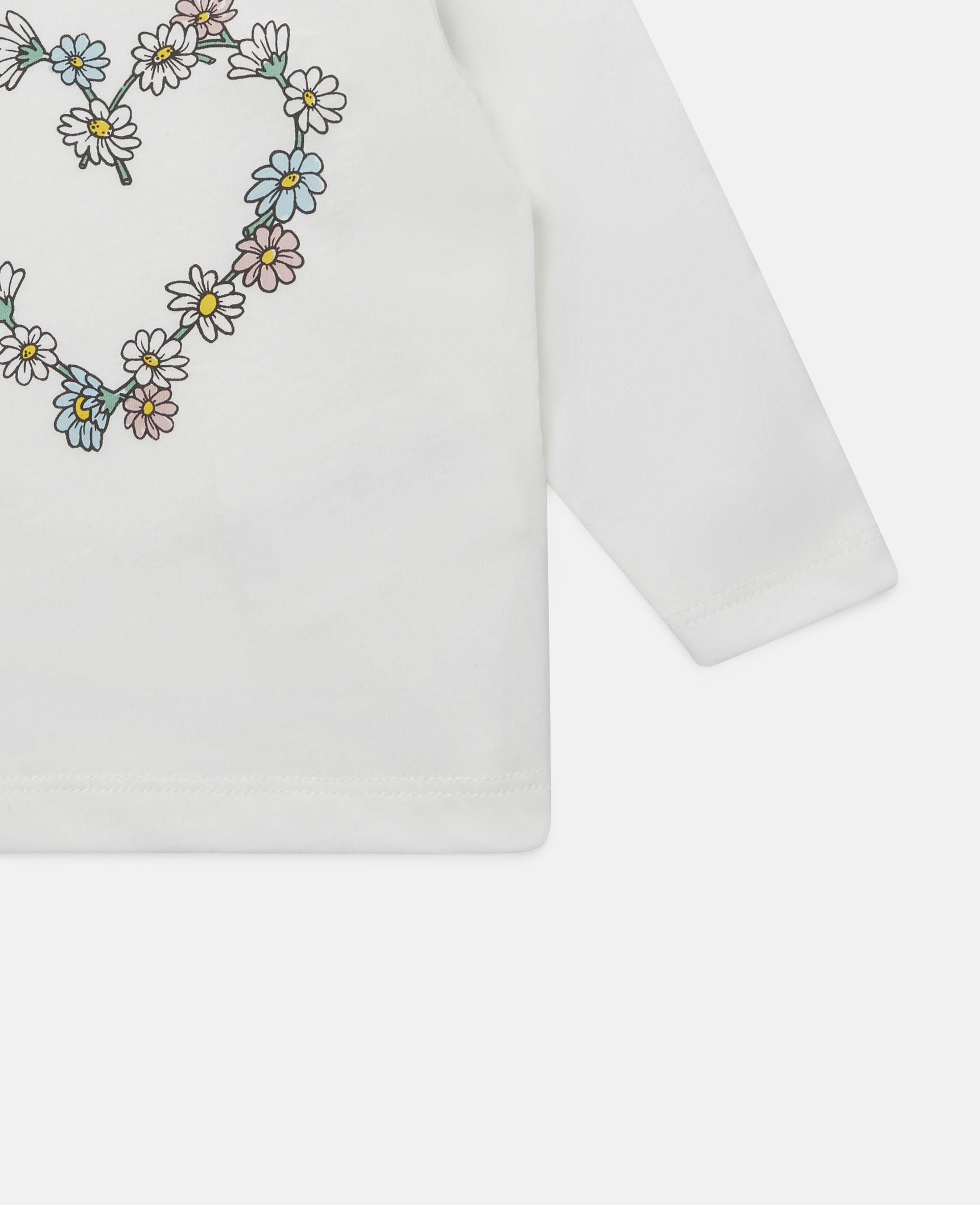 Haut en coton motif cœur en marguerites-Blanc-large image number 2