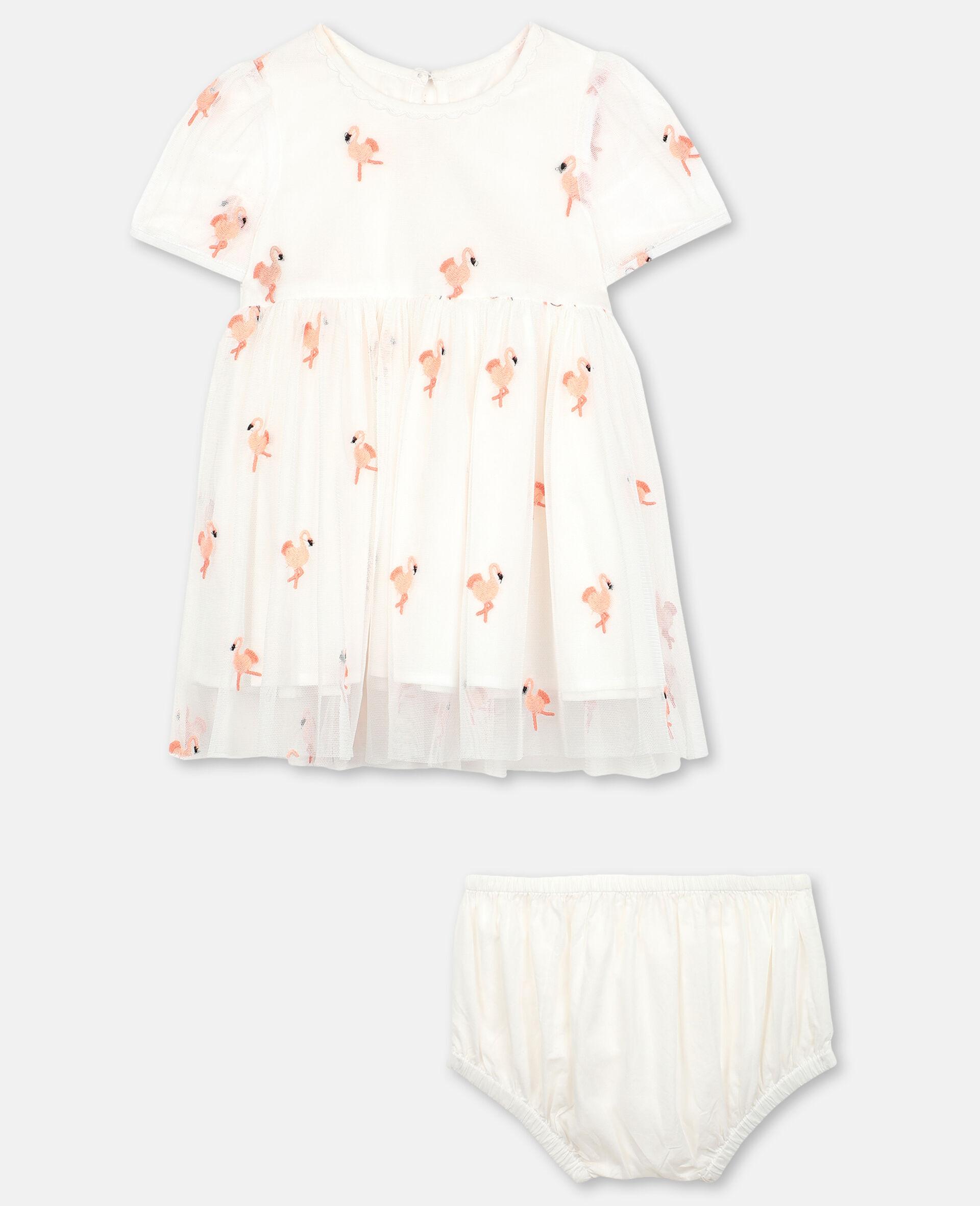 Robe en tulle avec flamants roses brodés-Blanc-large image number 0