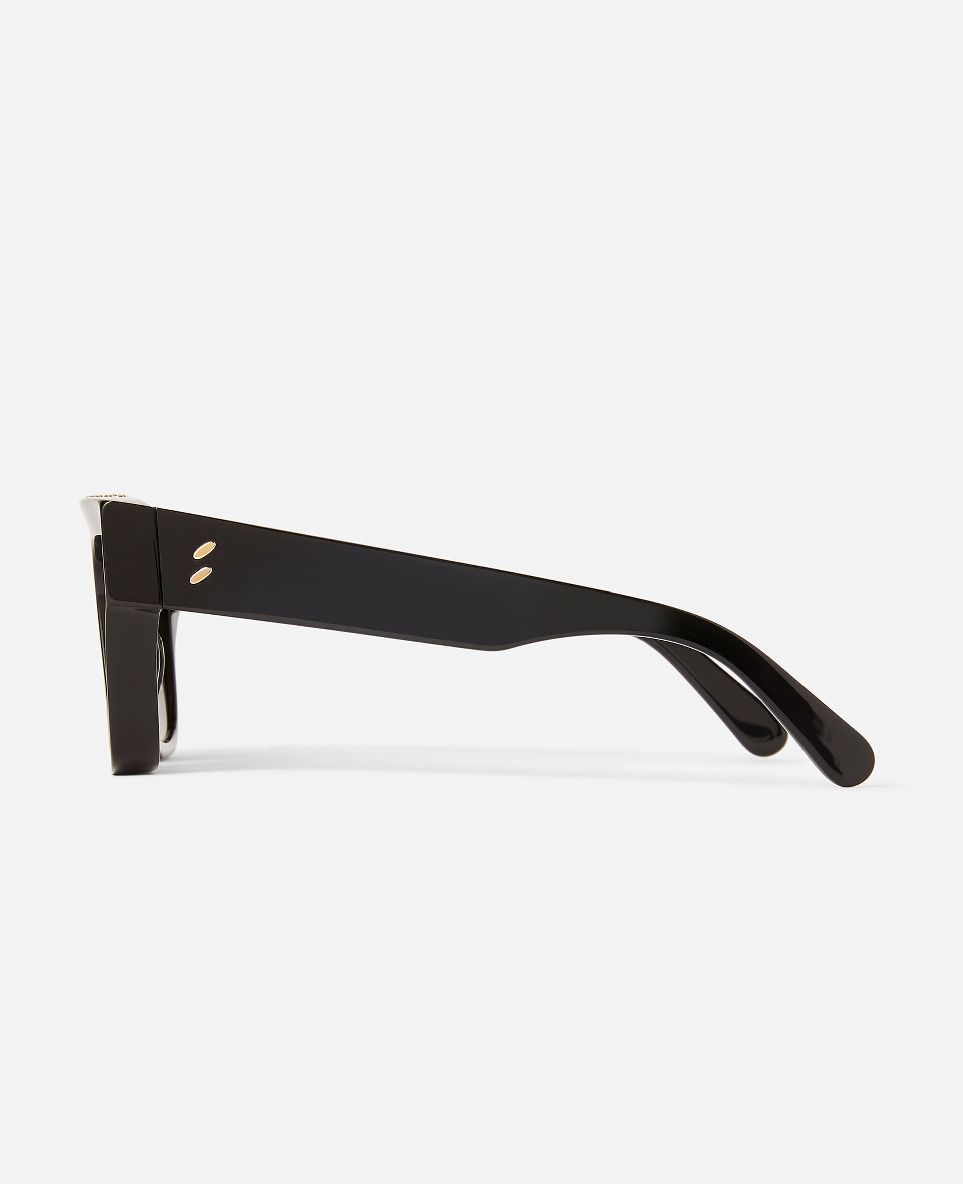 Shiny Black Square Sunglasses-Black-large image number 6