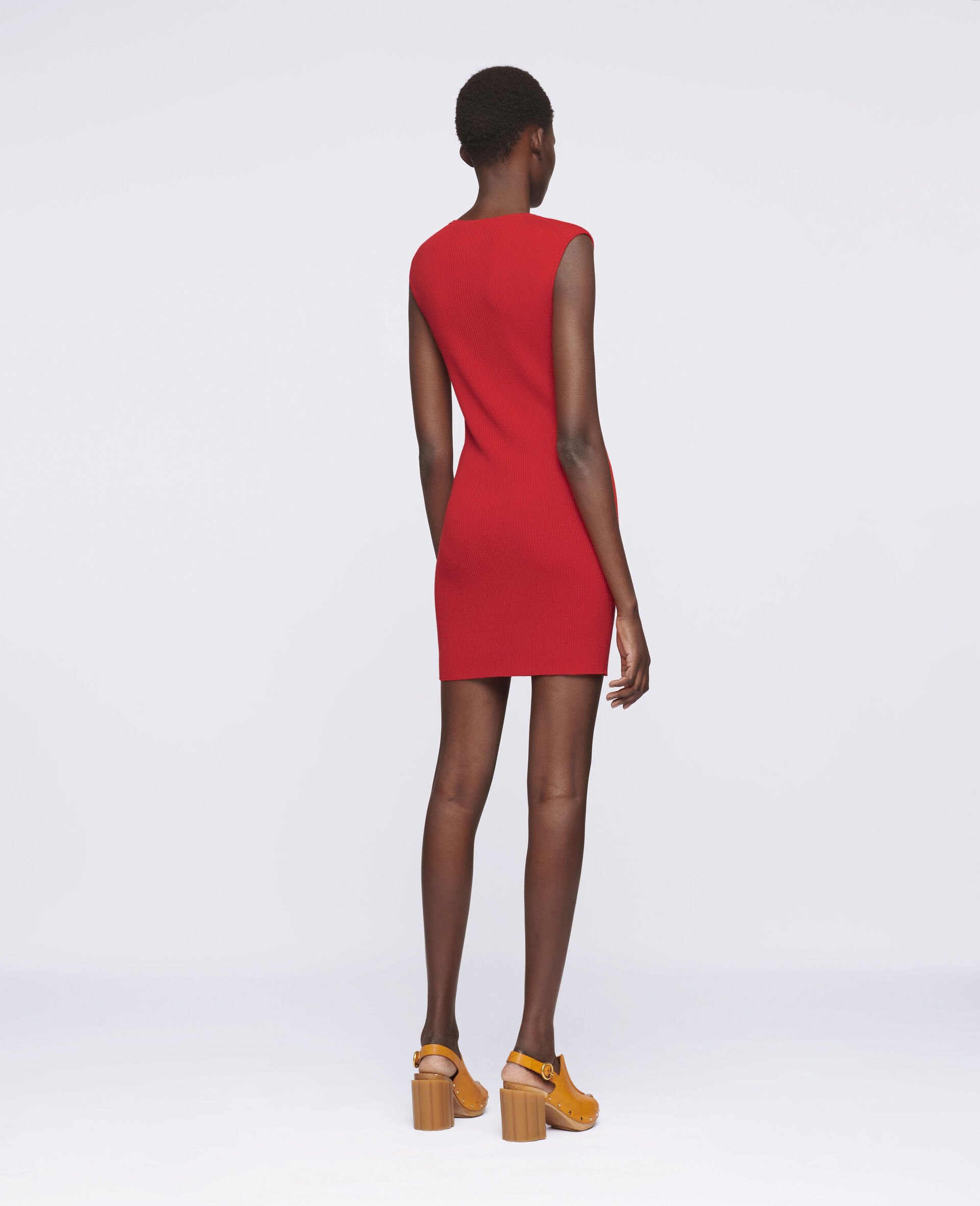 Sleeveless Mini Dress-Red-large image number 2