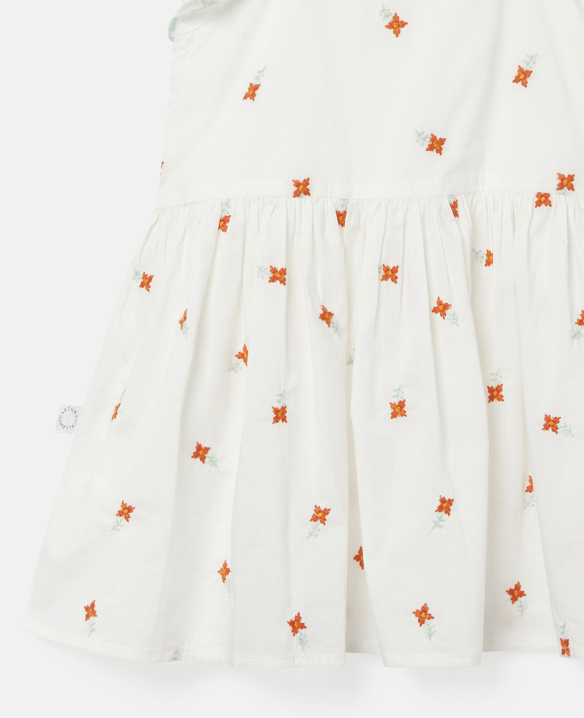 Embroidered Flowers Cotton Dress-White-large image number 1