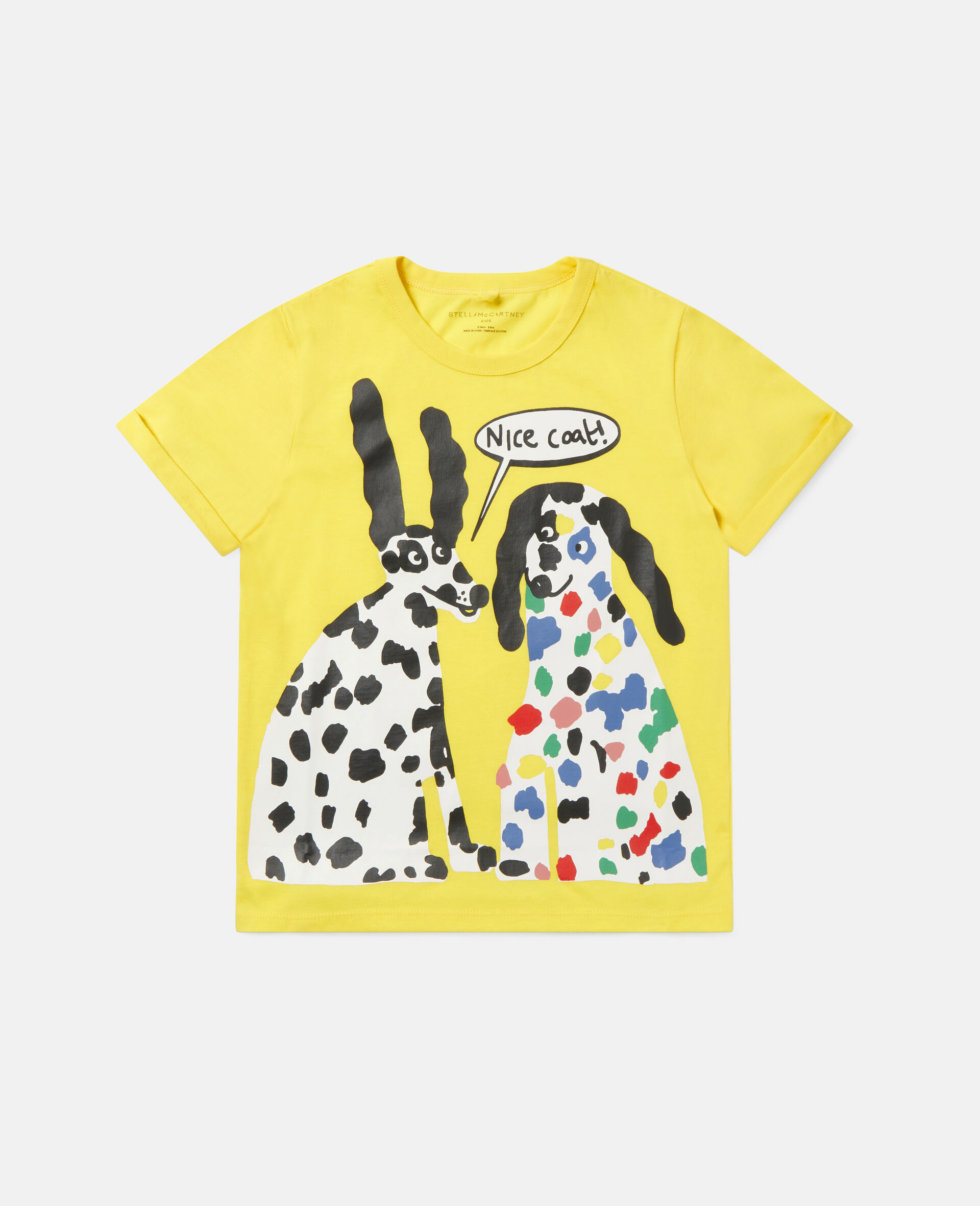 T-Shirt aus Baumwolle mit Dalmatiner-Print -Gelb-large image number 0