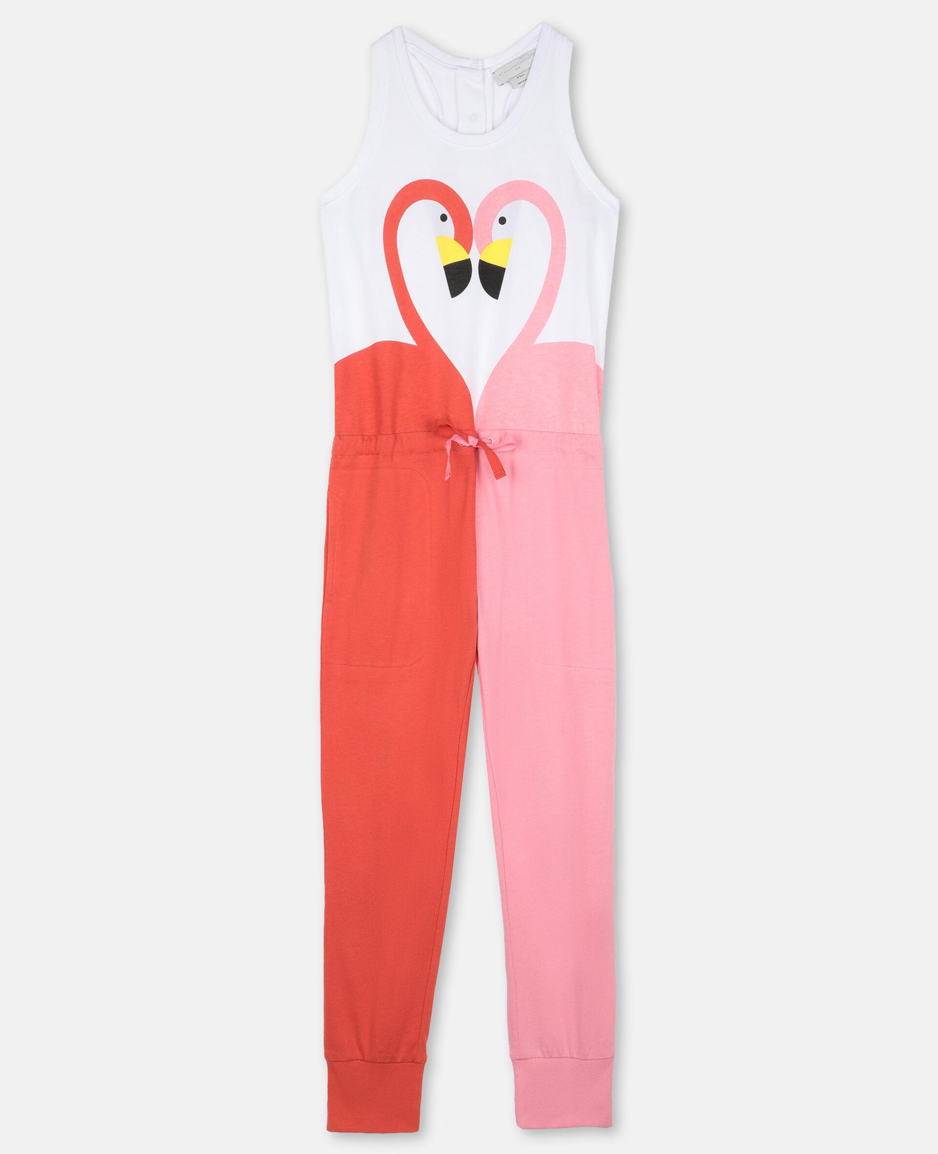 Flamingo Cotton Jumpsuit-White-large image number 0