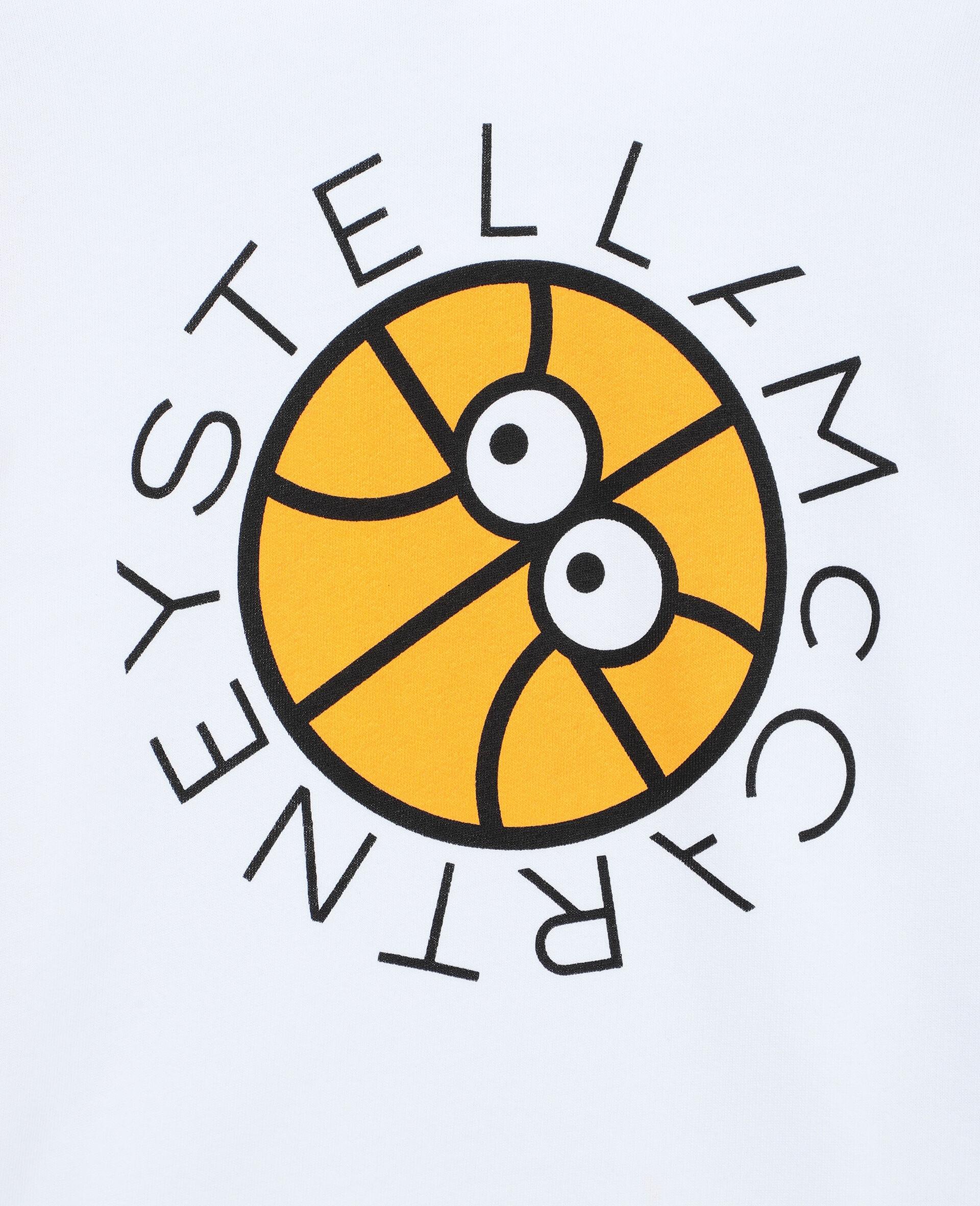 Oversized-Kapuzenpullover aus Baumwolle mit Basketball-Print und Logo-Weiß-large image number 1