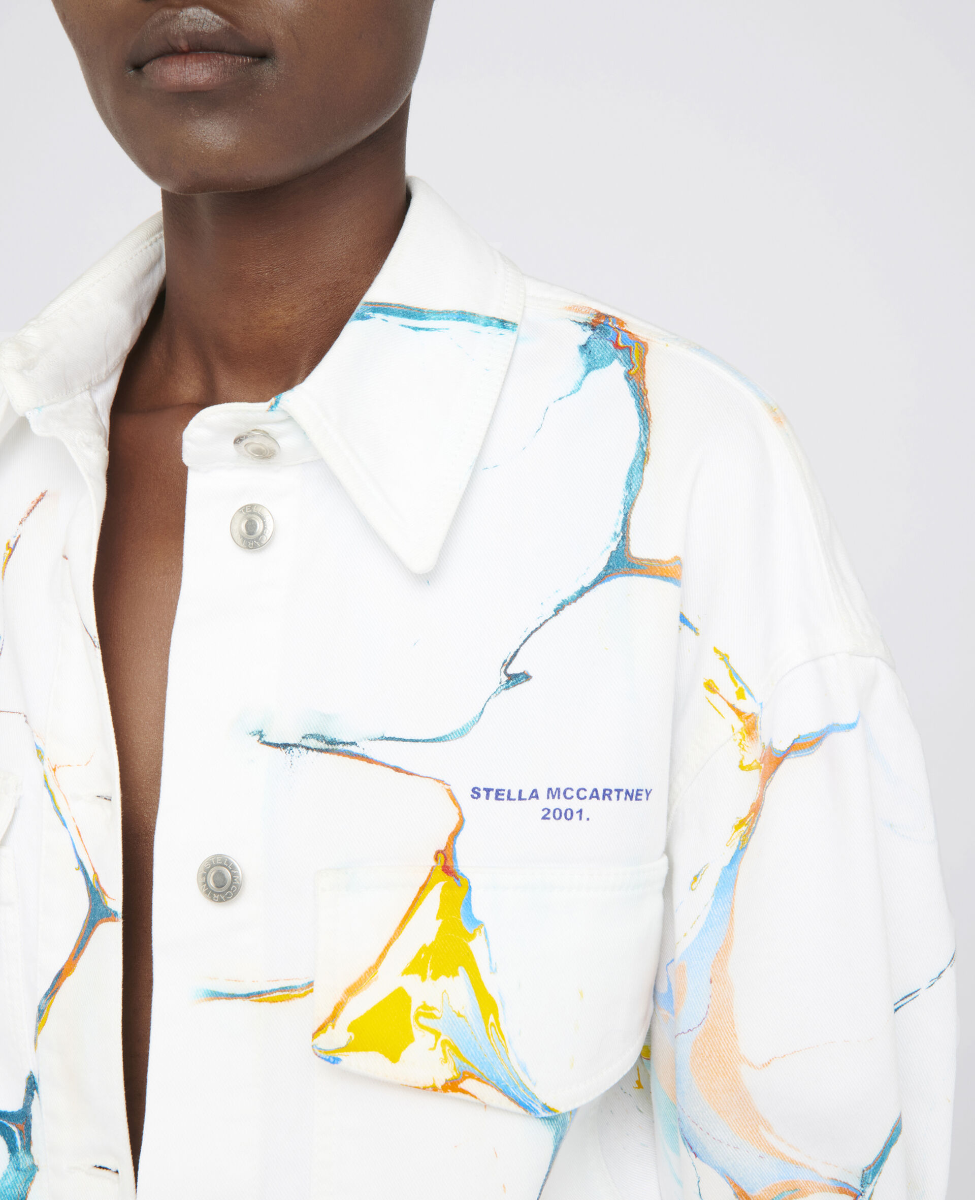Denim Shirt Jacket -Multicolour-large image number 3