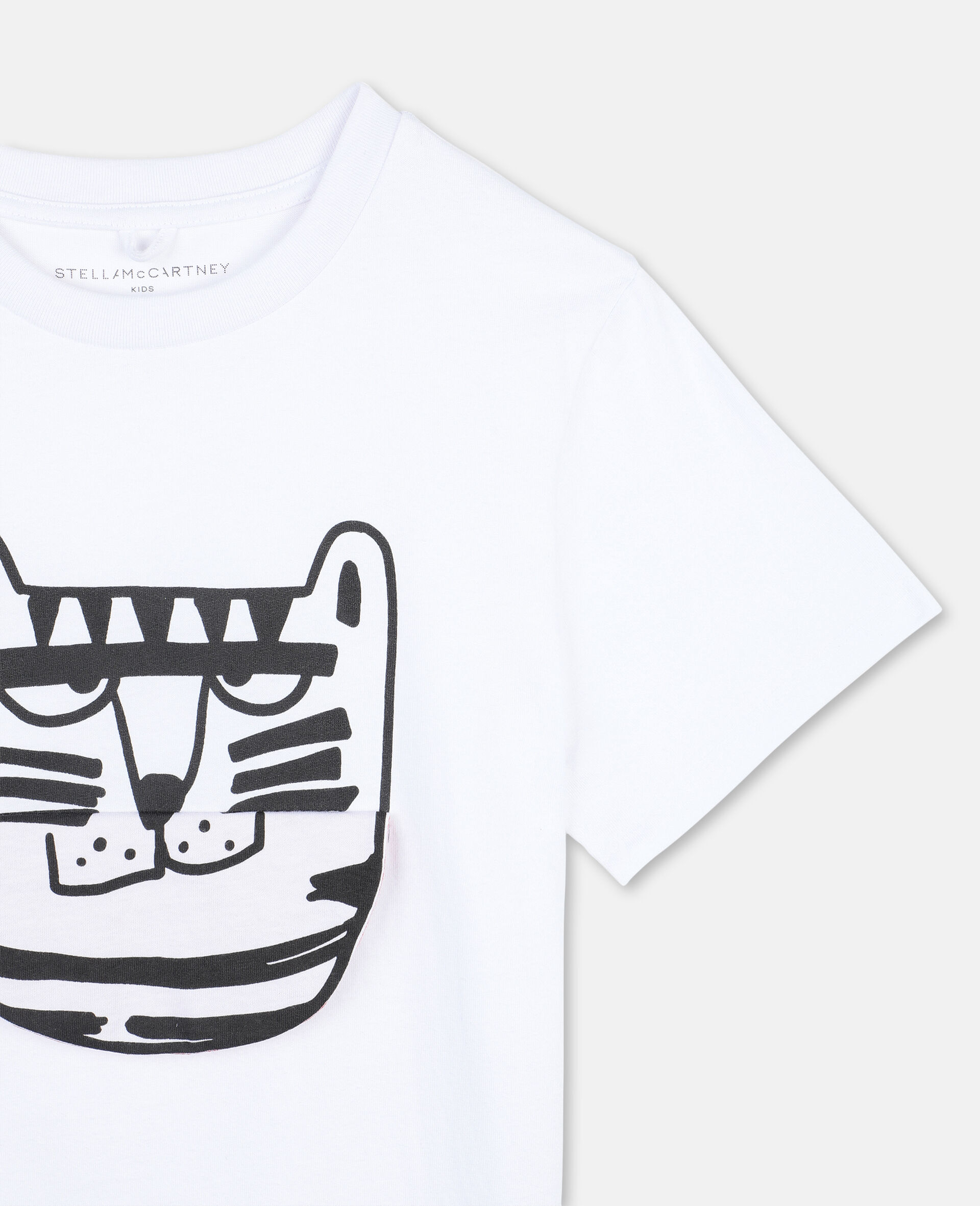 Funny Tiger Cotton T-shirt -White-large image number 2
