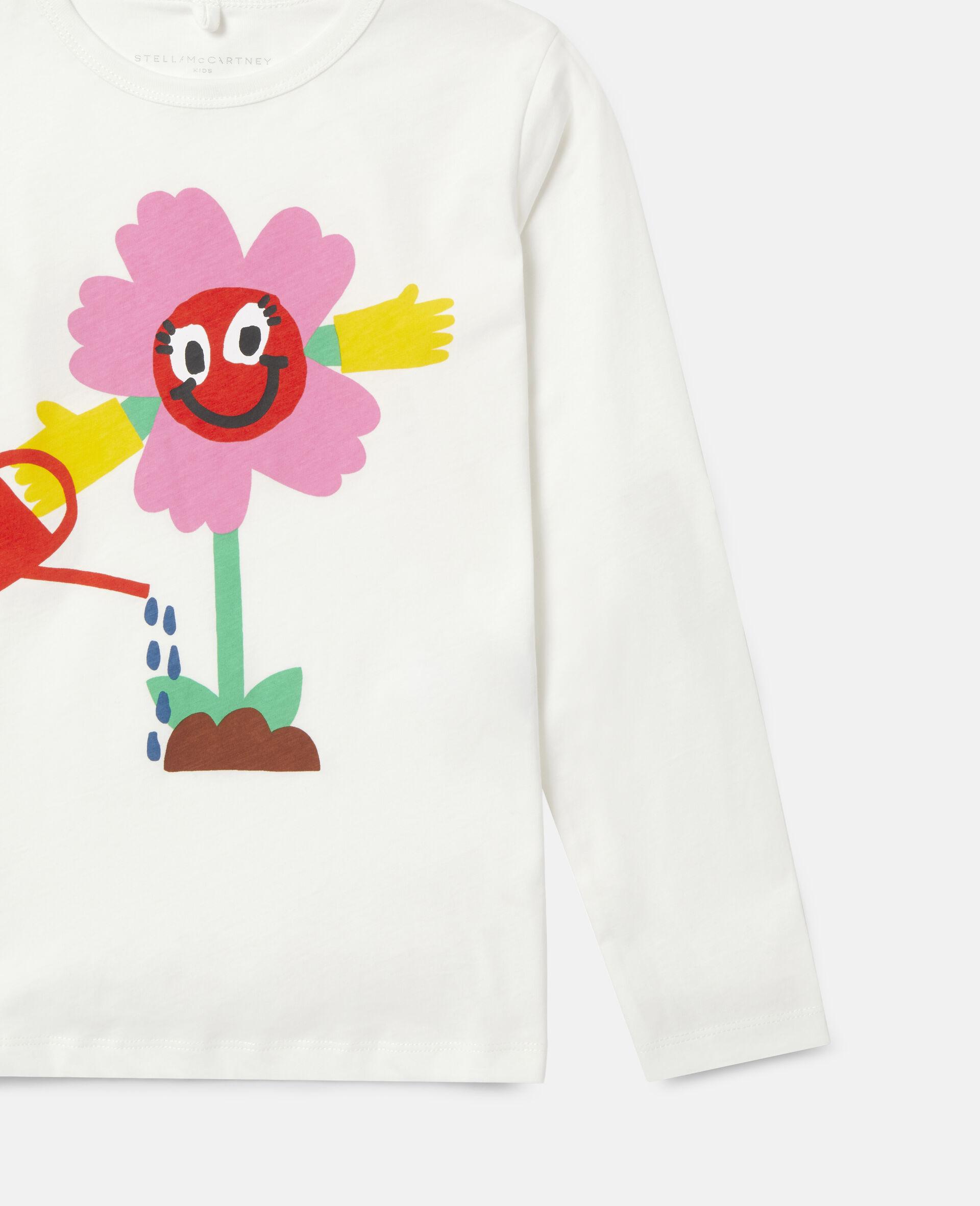 T-Shirt in Cotone con Fiore che si Innaffia -Bianco-large image number 2