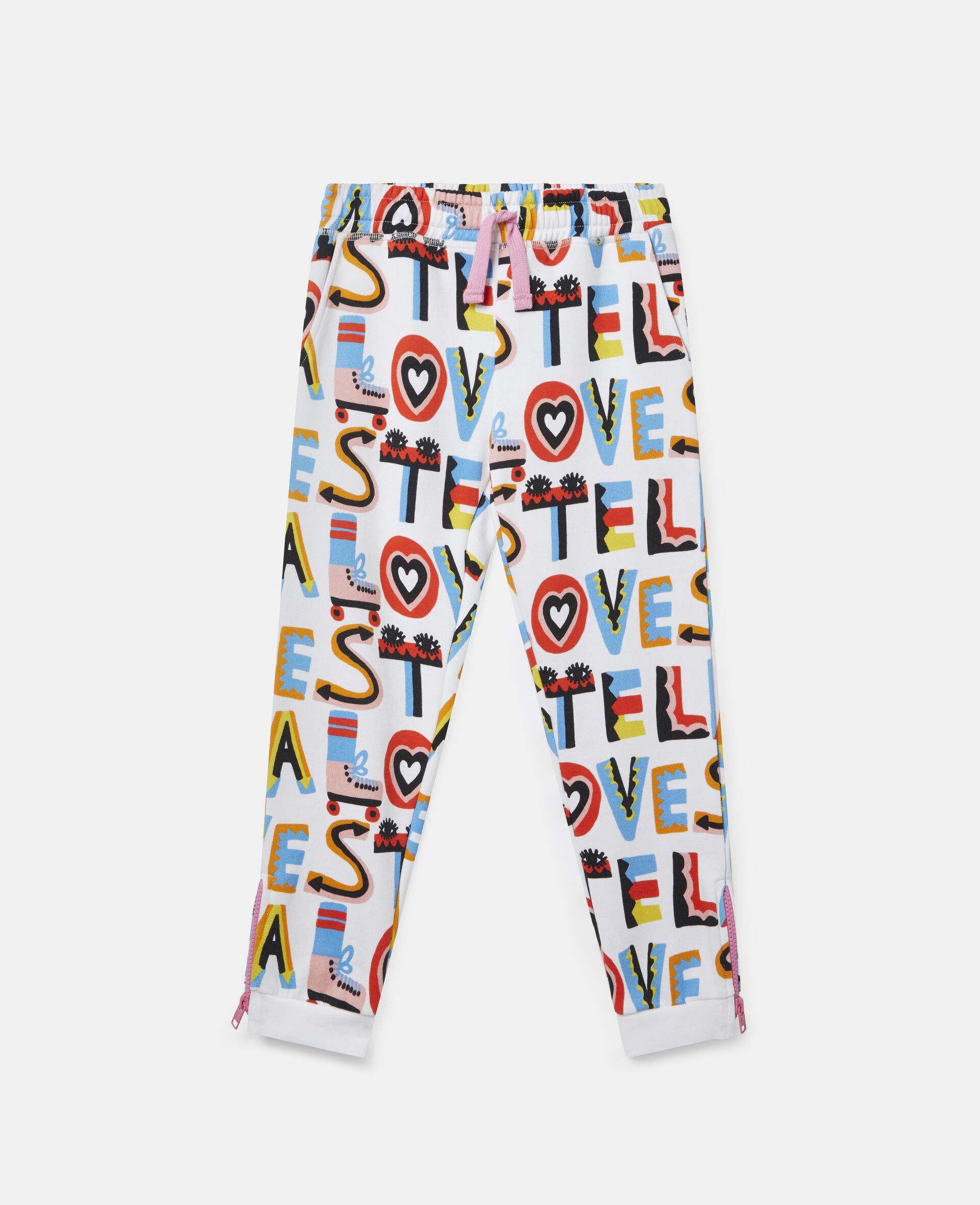 Pantalon de jogging en polaire de coton Stella Loves-Blanc-large image number 0
