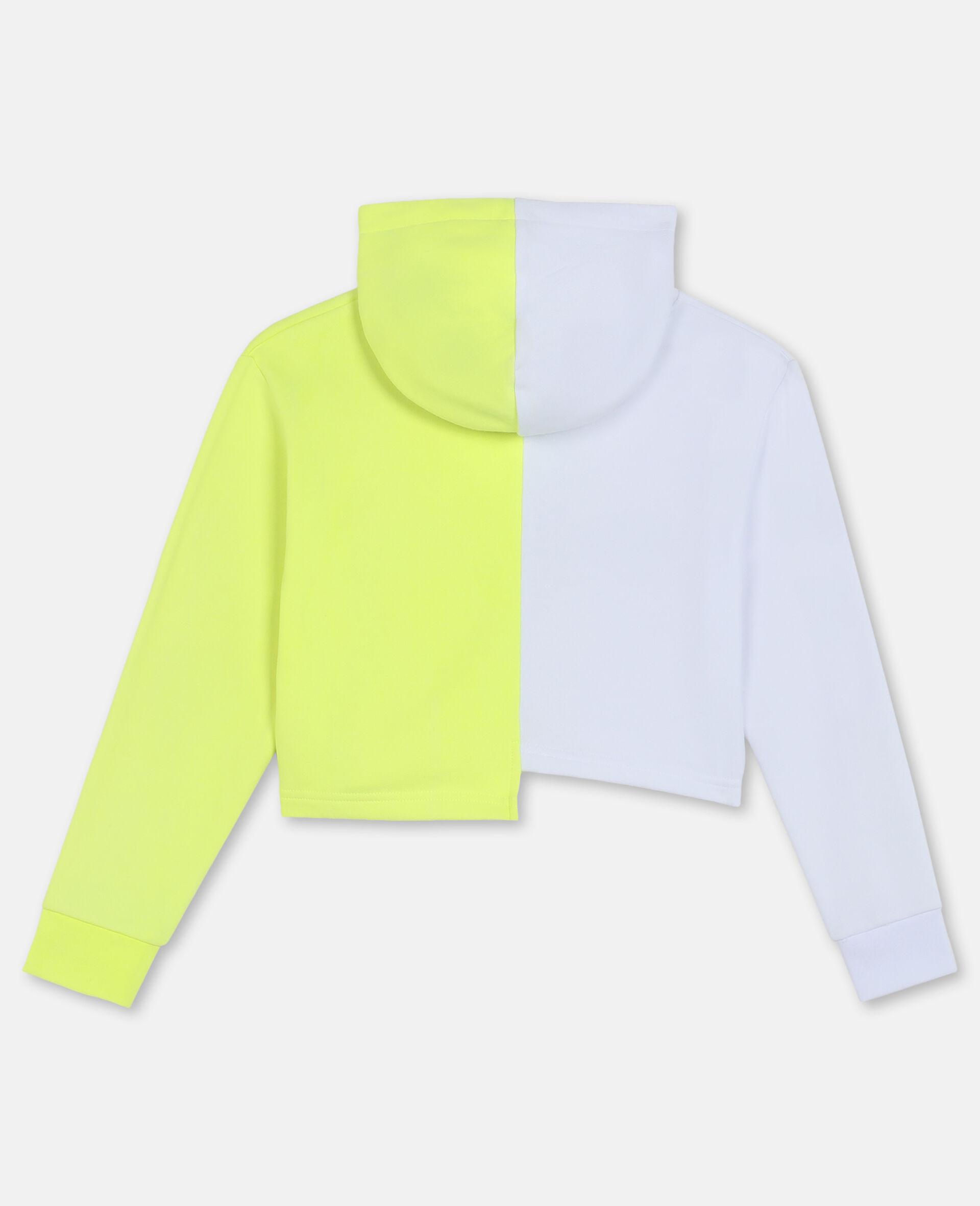 Sweat-shirt à capuche de sport en molleton de coton avec logo-Blanc-large image number 3