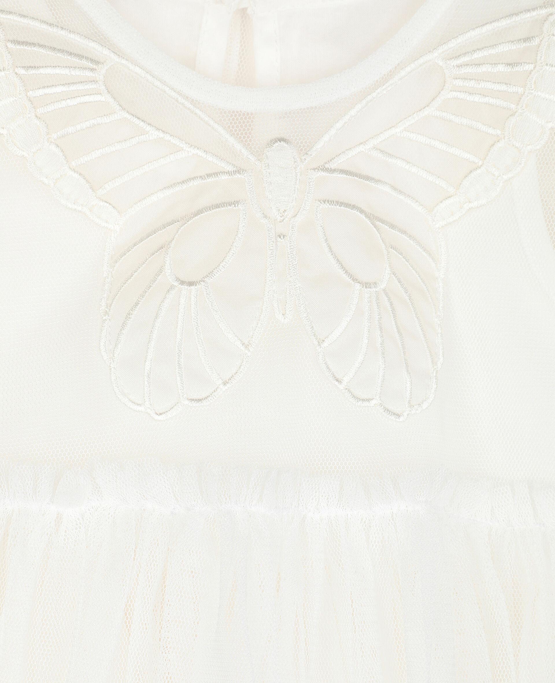 Kleid aus Tüll mit Schmetterling-Aufnäher -Weiß-large image number 1