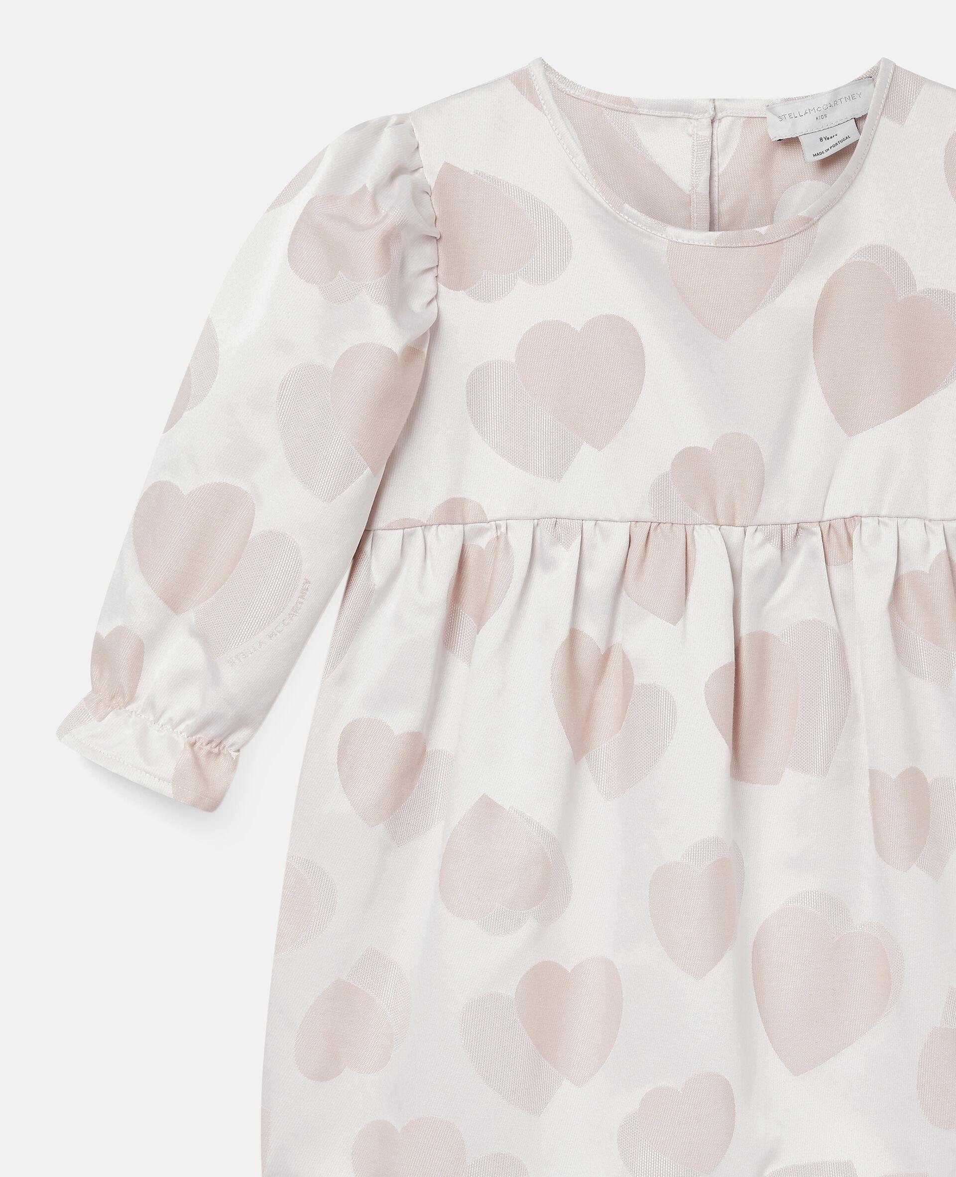 Kleid aus Jacquard mit Herzen-Print-Rose-large image number 2