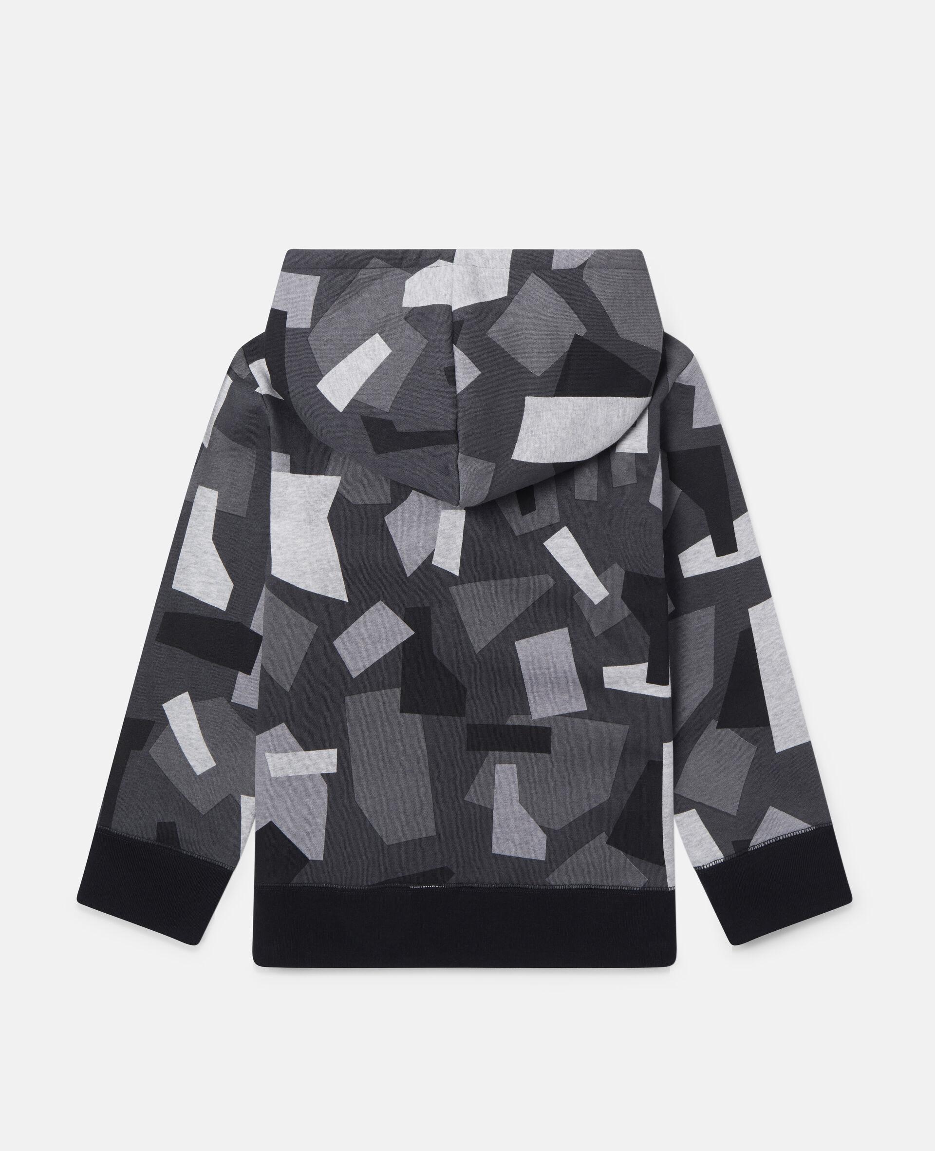 Geometric Oversized Fleece Hoodie-Multicolour-large image number 2