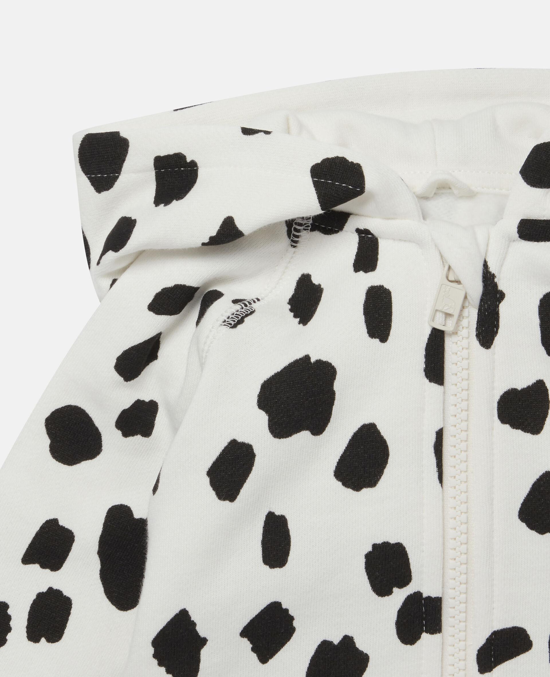 Sweat-shirt à capuche à tâches dalmatien-Blanc-large image number 1