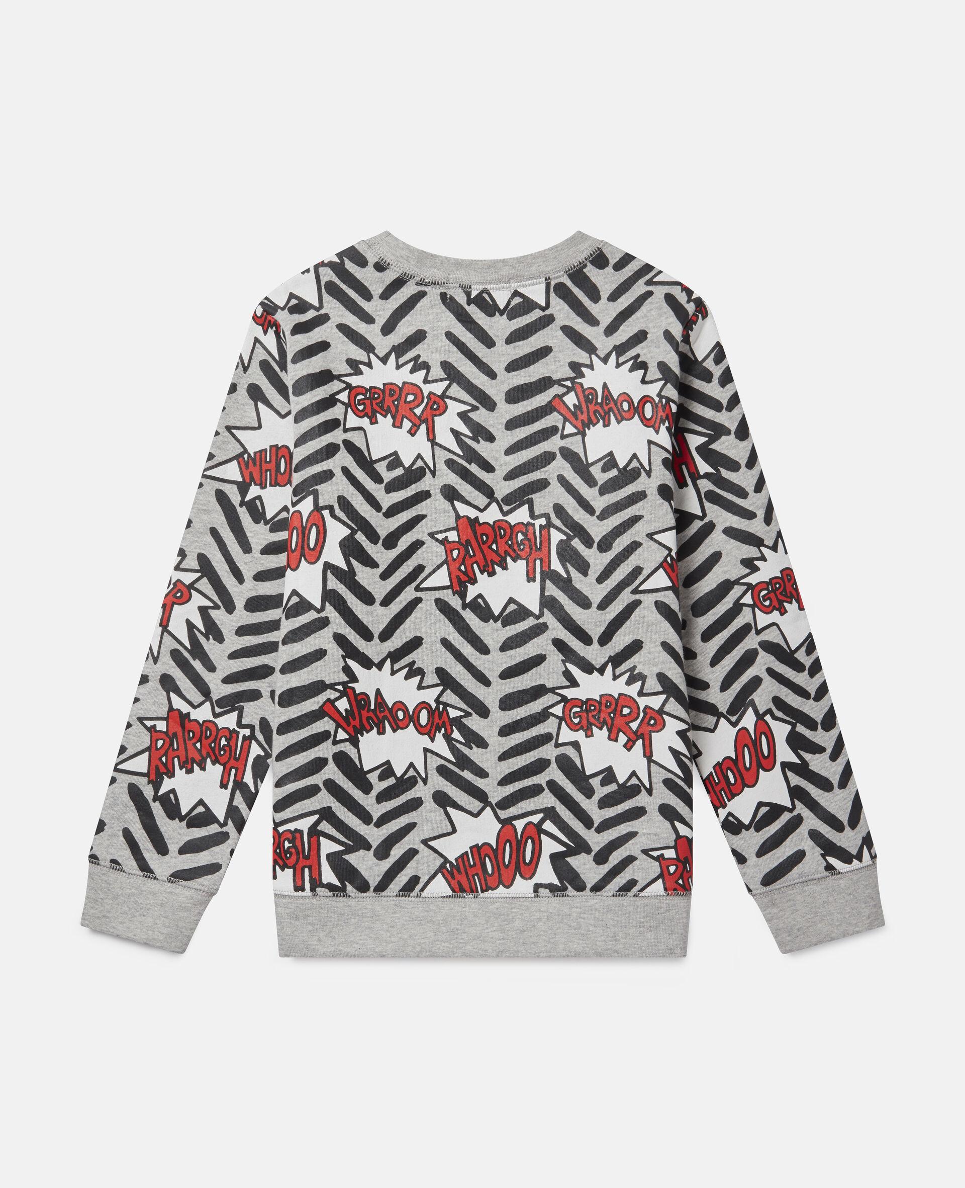 Comic Bubbles Fleece Sweatshirt-Grey-large image number 3