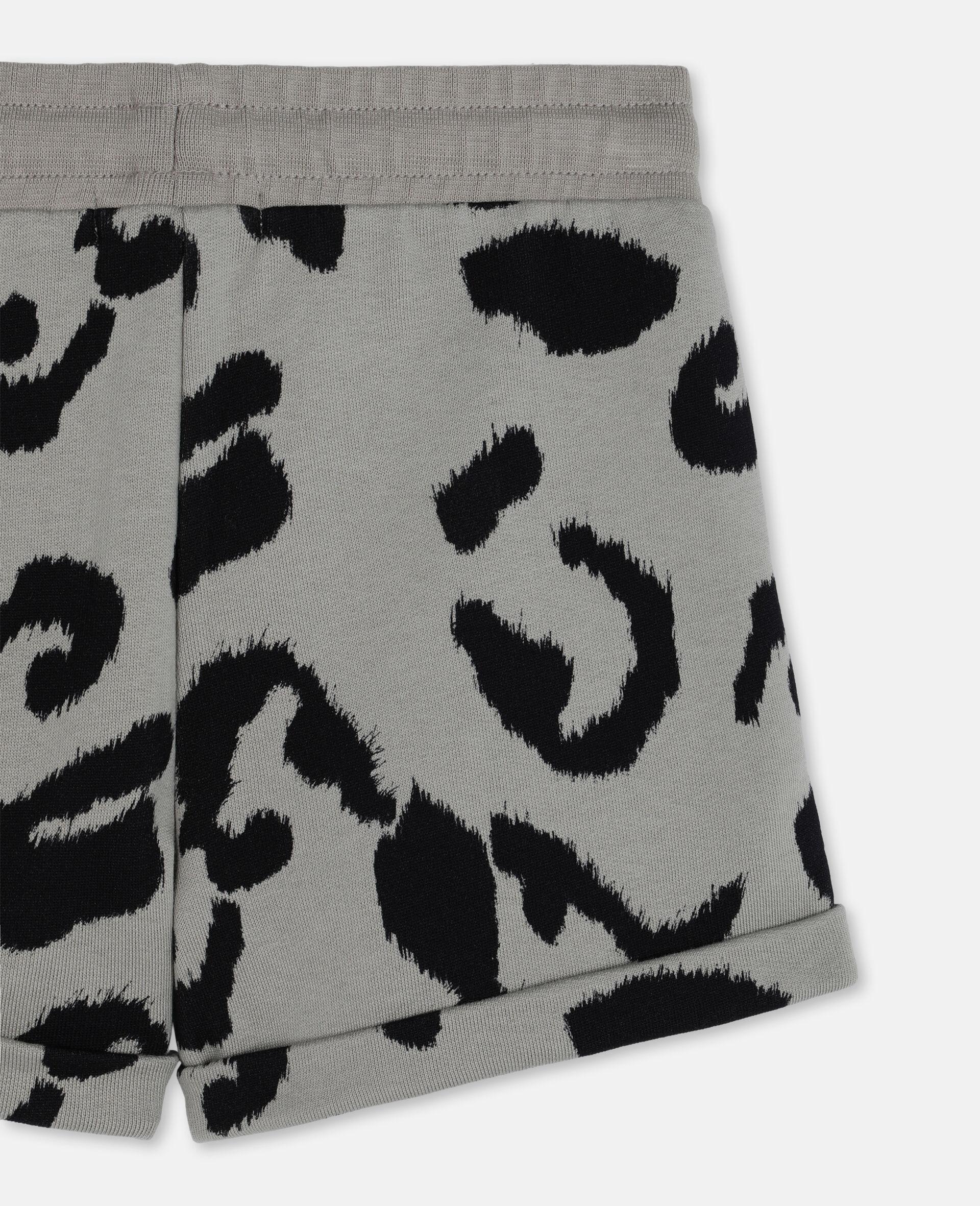 Baumwollfleece-Shorts mit Leoparden-Print-Bunt-large image number 2