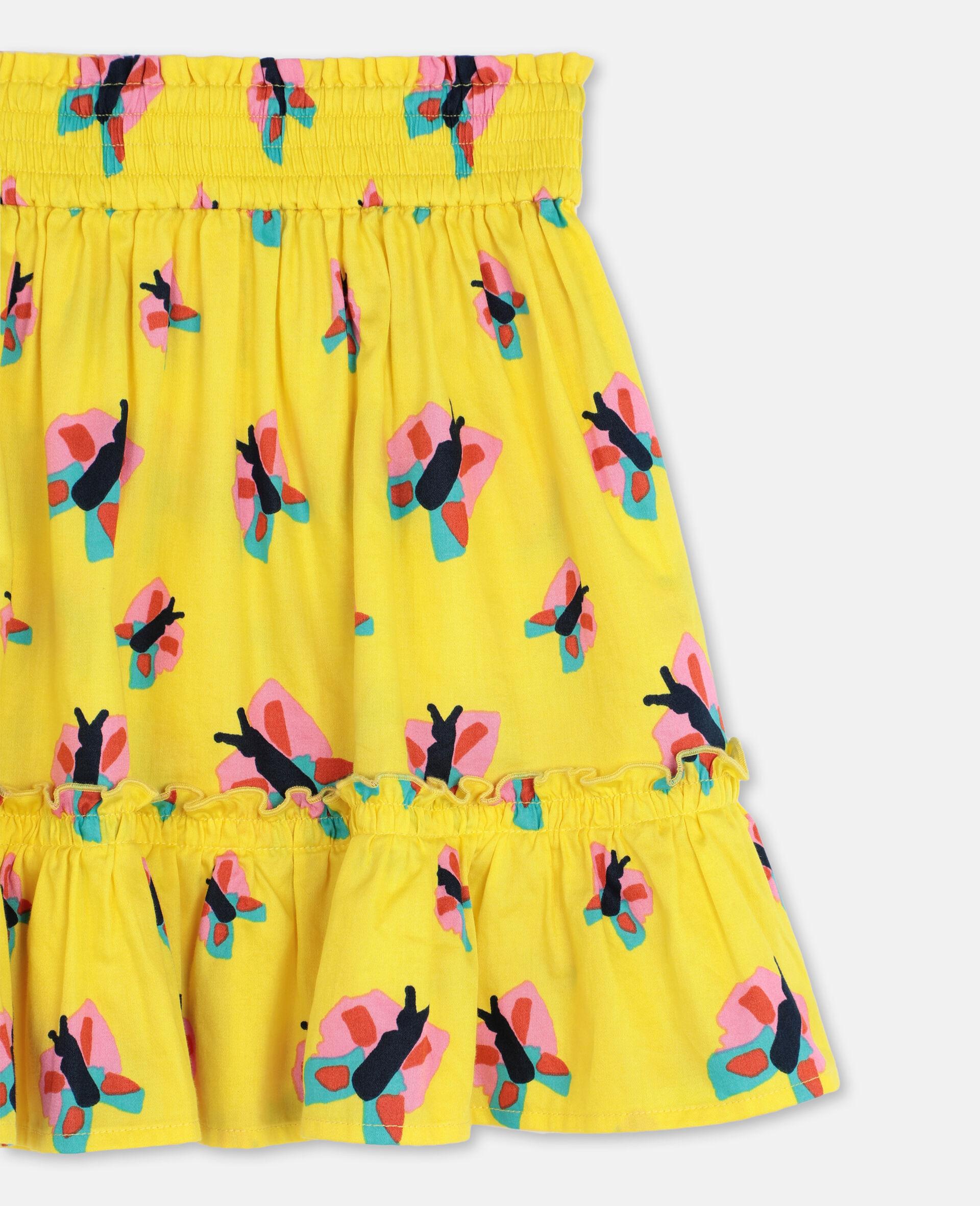 Jupe en coton avec motif papillons -Jaune-large image number 1