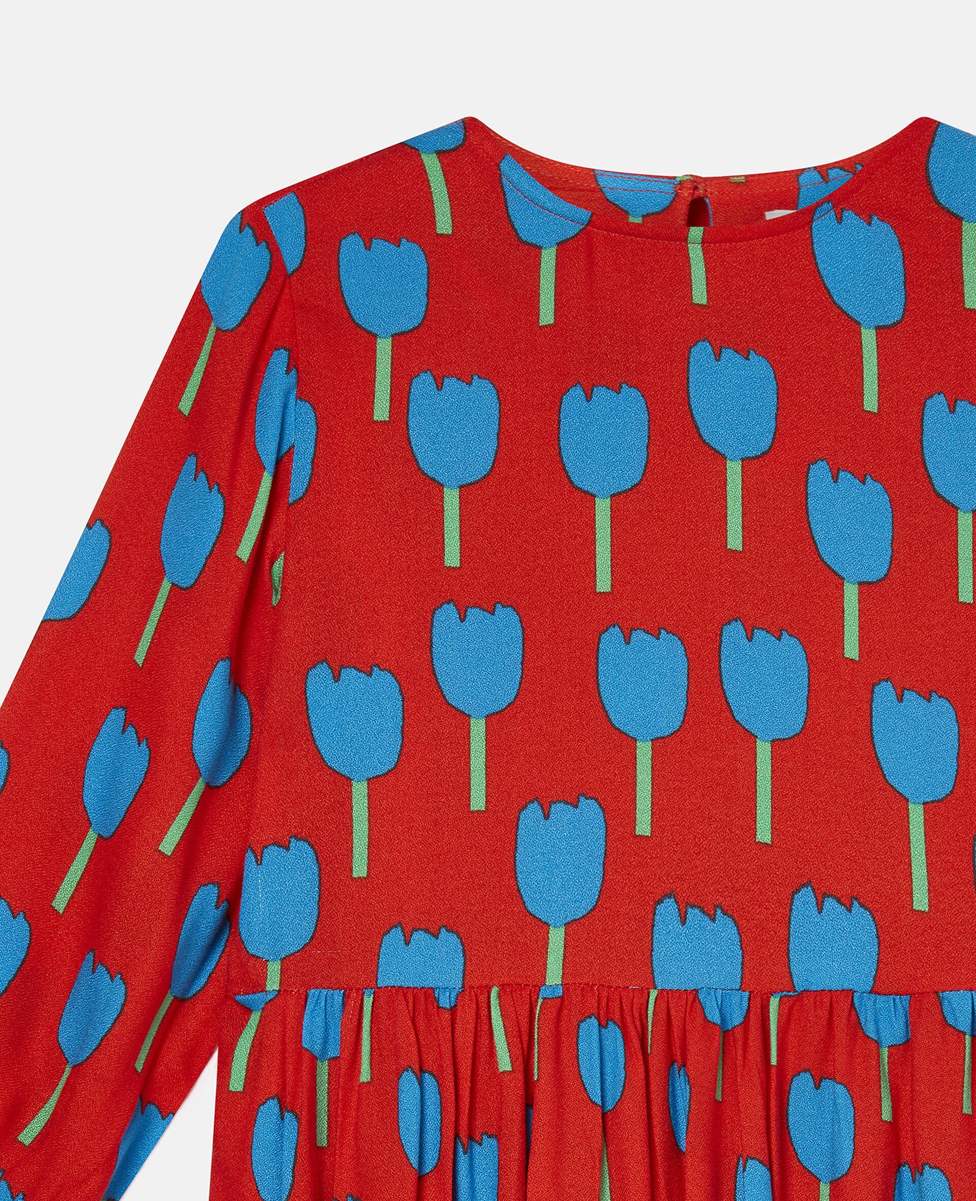 Tulips Viscose Crepe Dress-Red-large image number 2