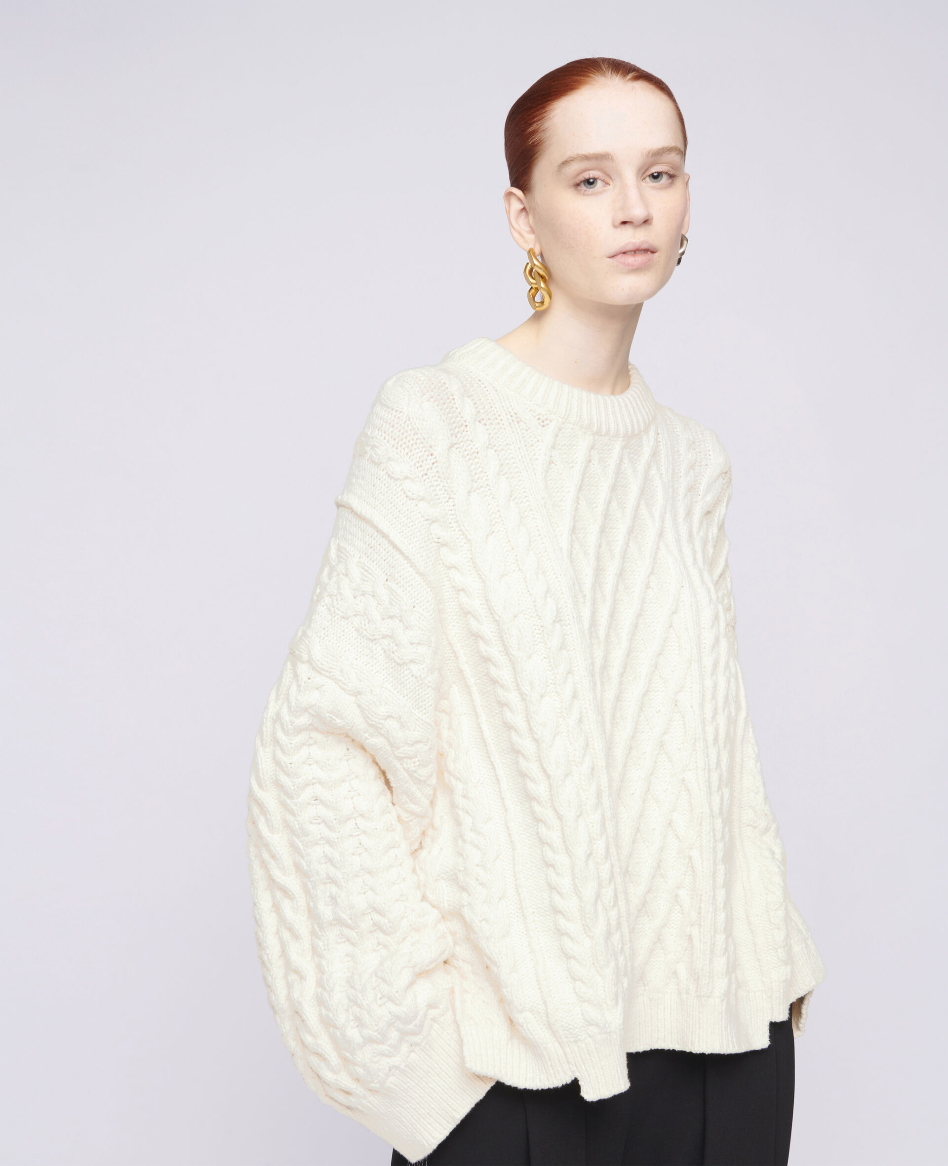 Aran Stitch Oversized Jumper-White-large image number 3