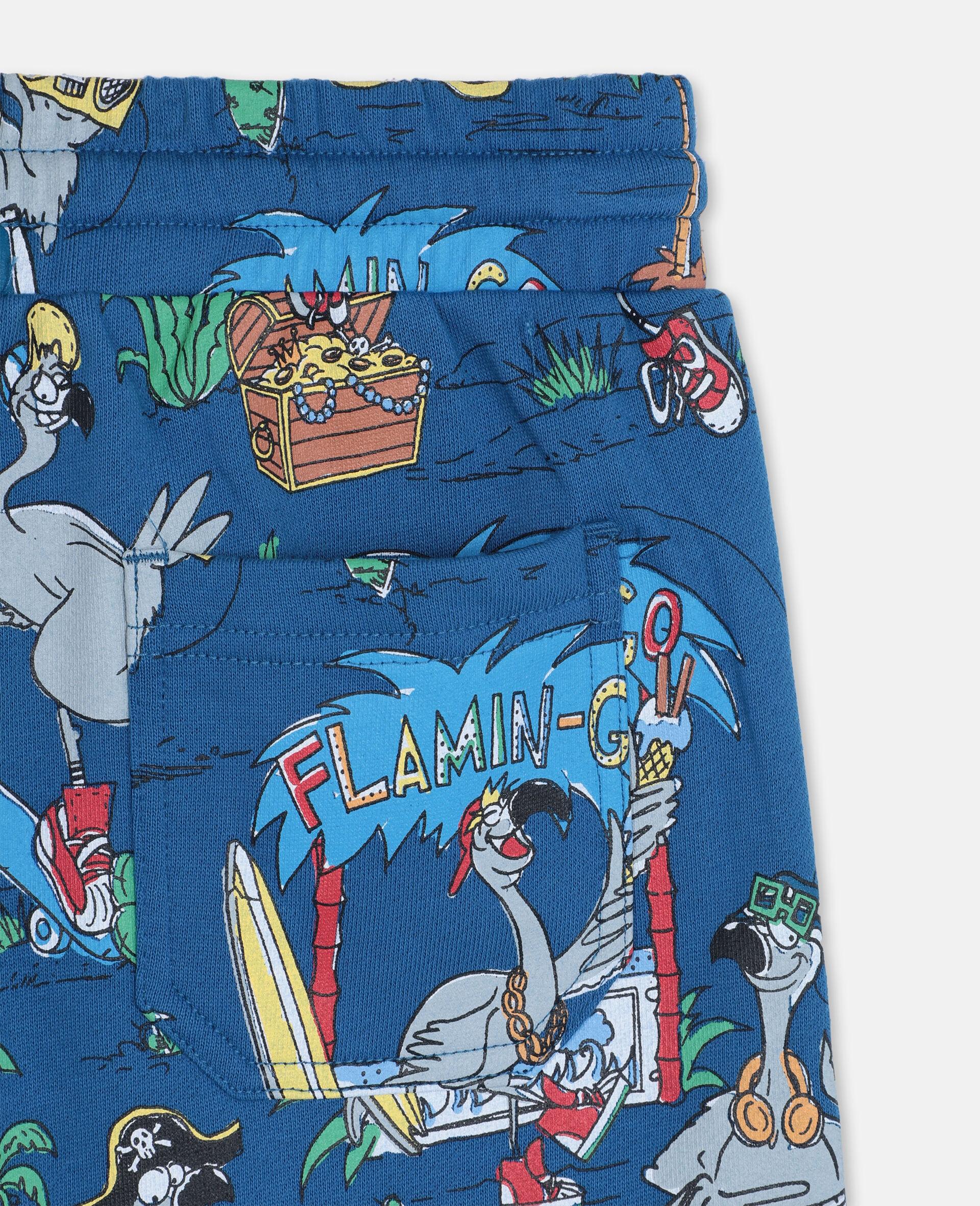 Baumwollshorts mit Flamingo-Land-Print -Blau-large image number 2